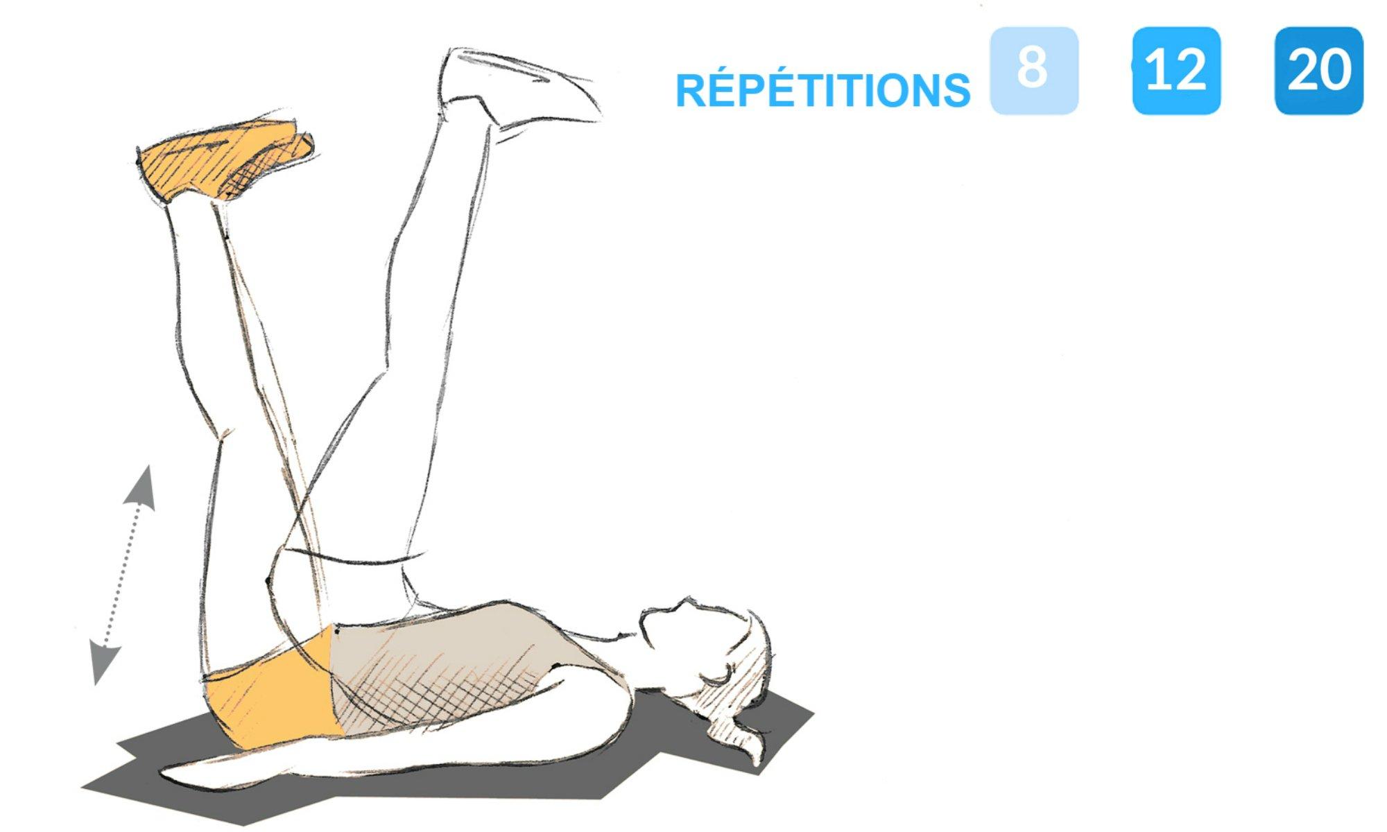 Consignes pour effectuer l'exercice du relevé de bassin.