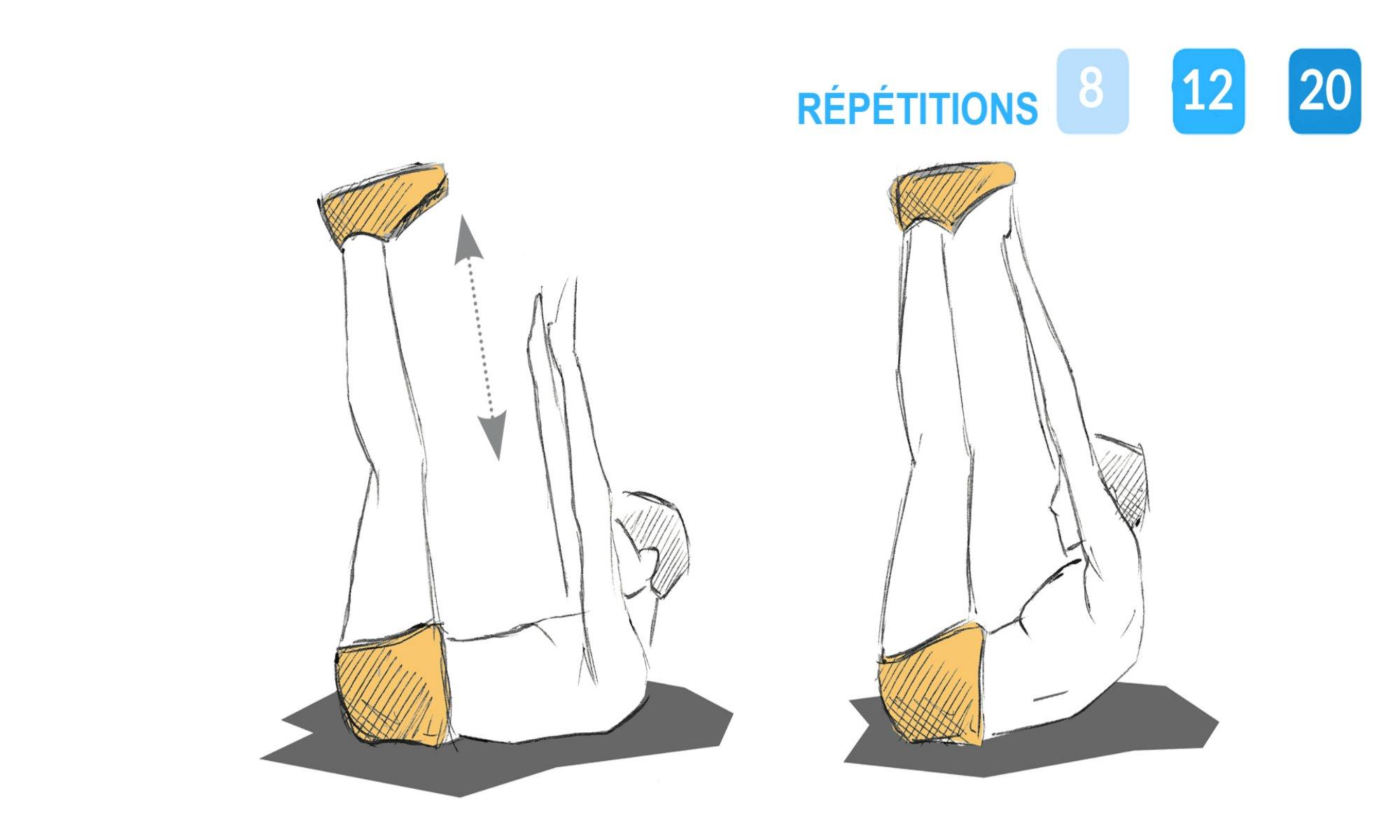 Instructions pour réaliser le relevé jambes tendues.