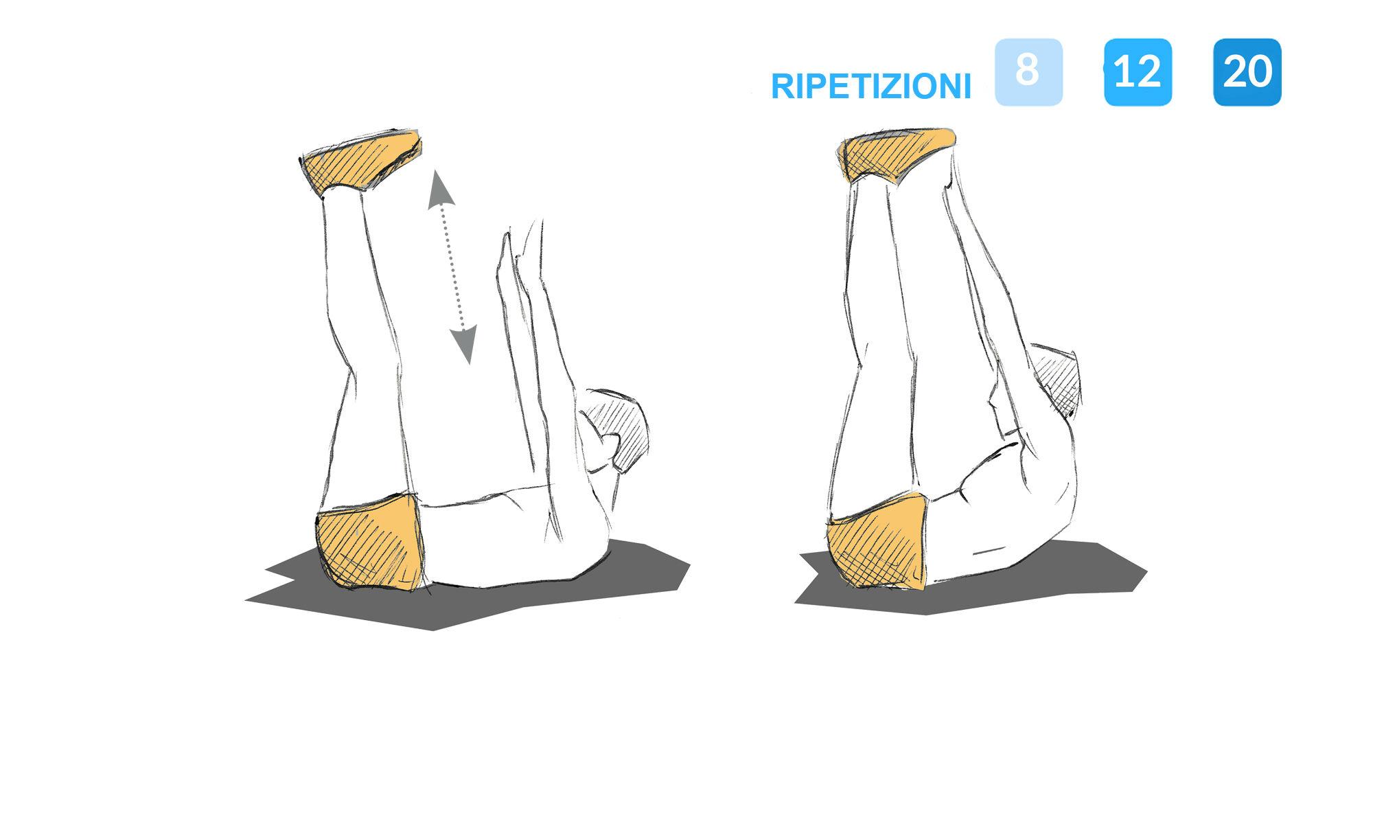 Immagine che illustra gli addominali a gamba tesa.