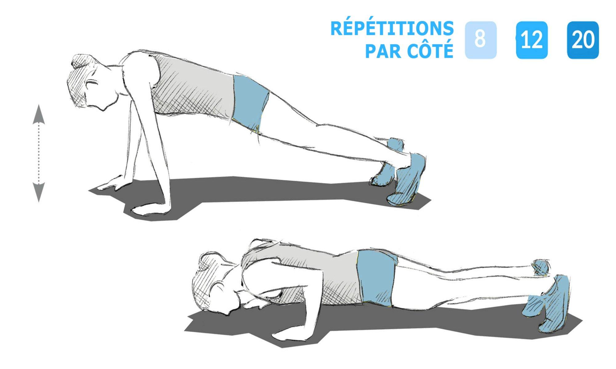 Instructions pour effectuer l'exercice des pompes asymétriques.