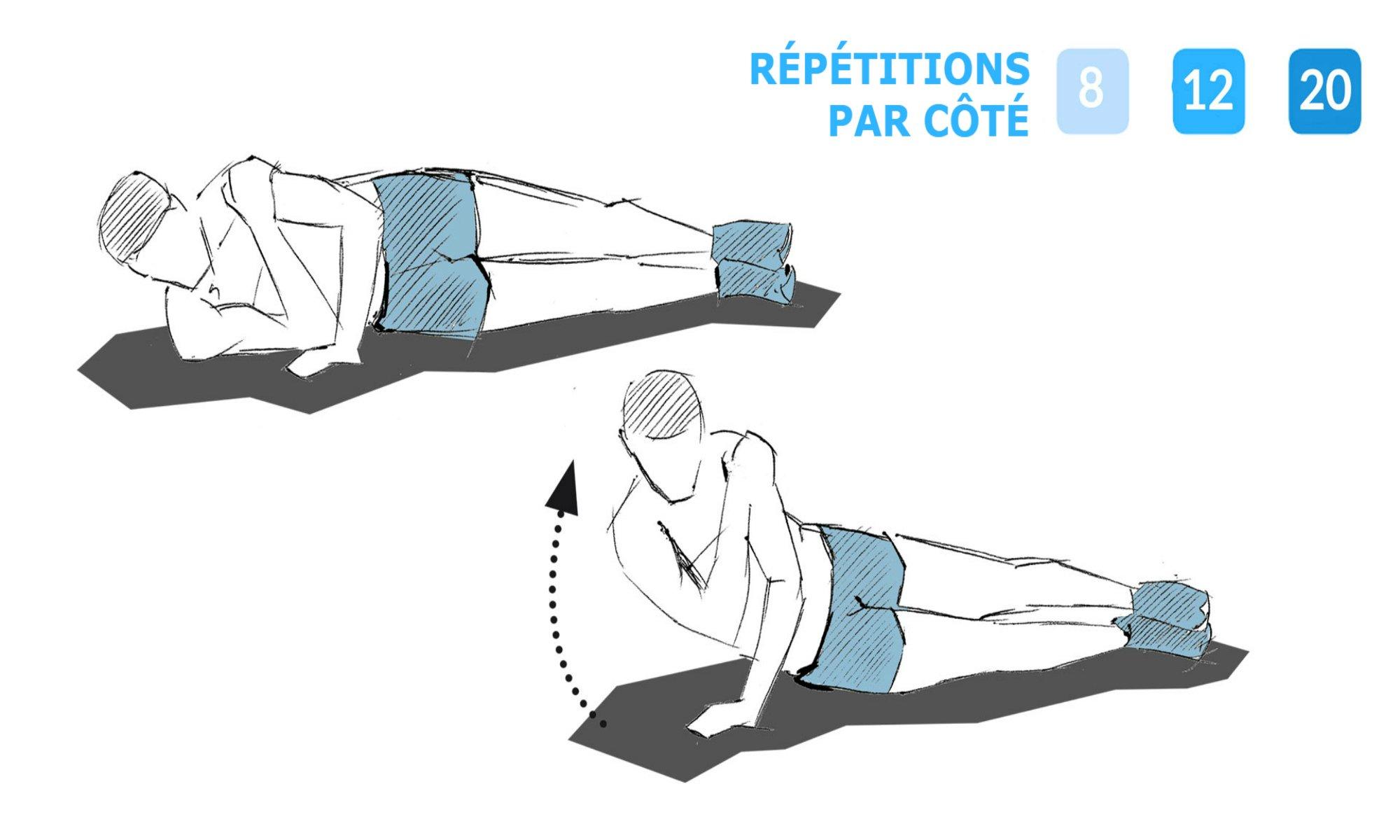 Consignes pour effectuer les extensions latérales des triceps.