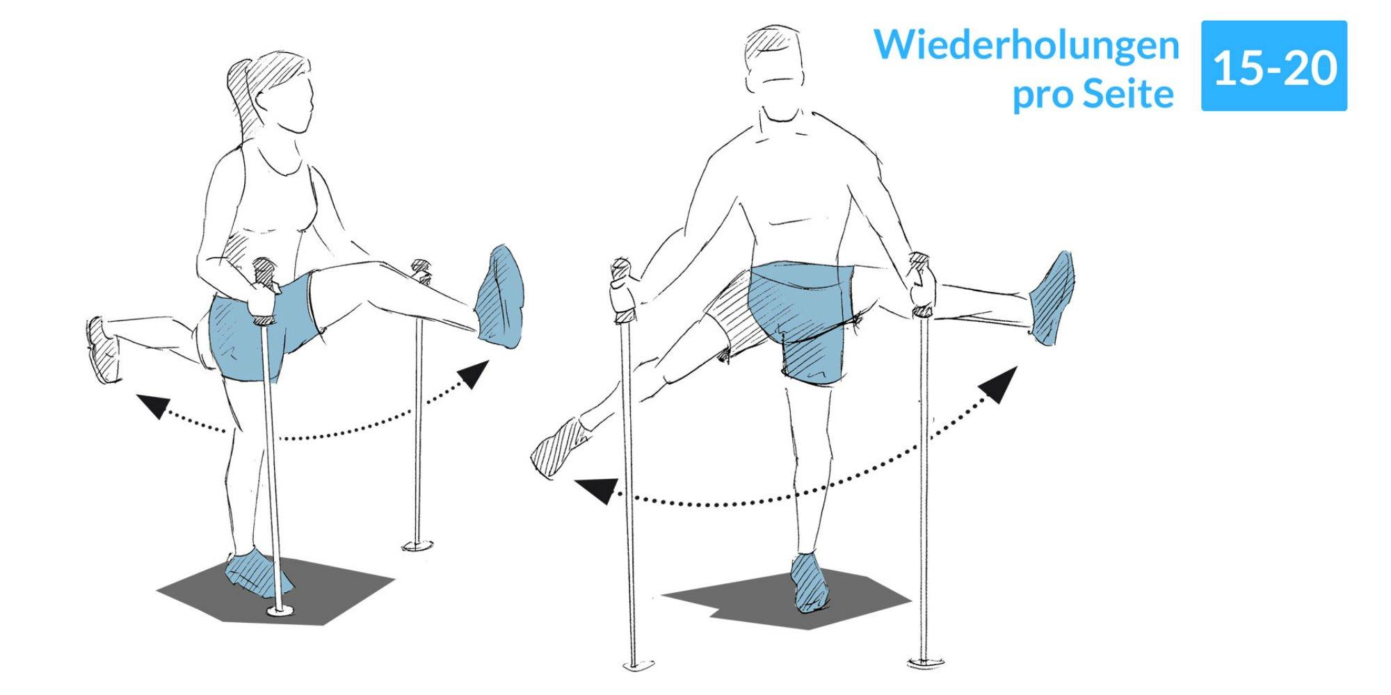 Das Beinschwingen ist eine gute Übung, um sich vor dem Skifahren zu dehnen.