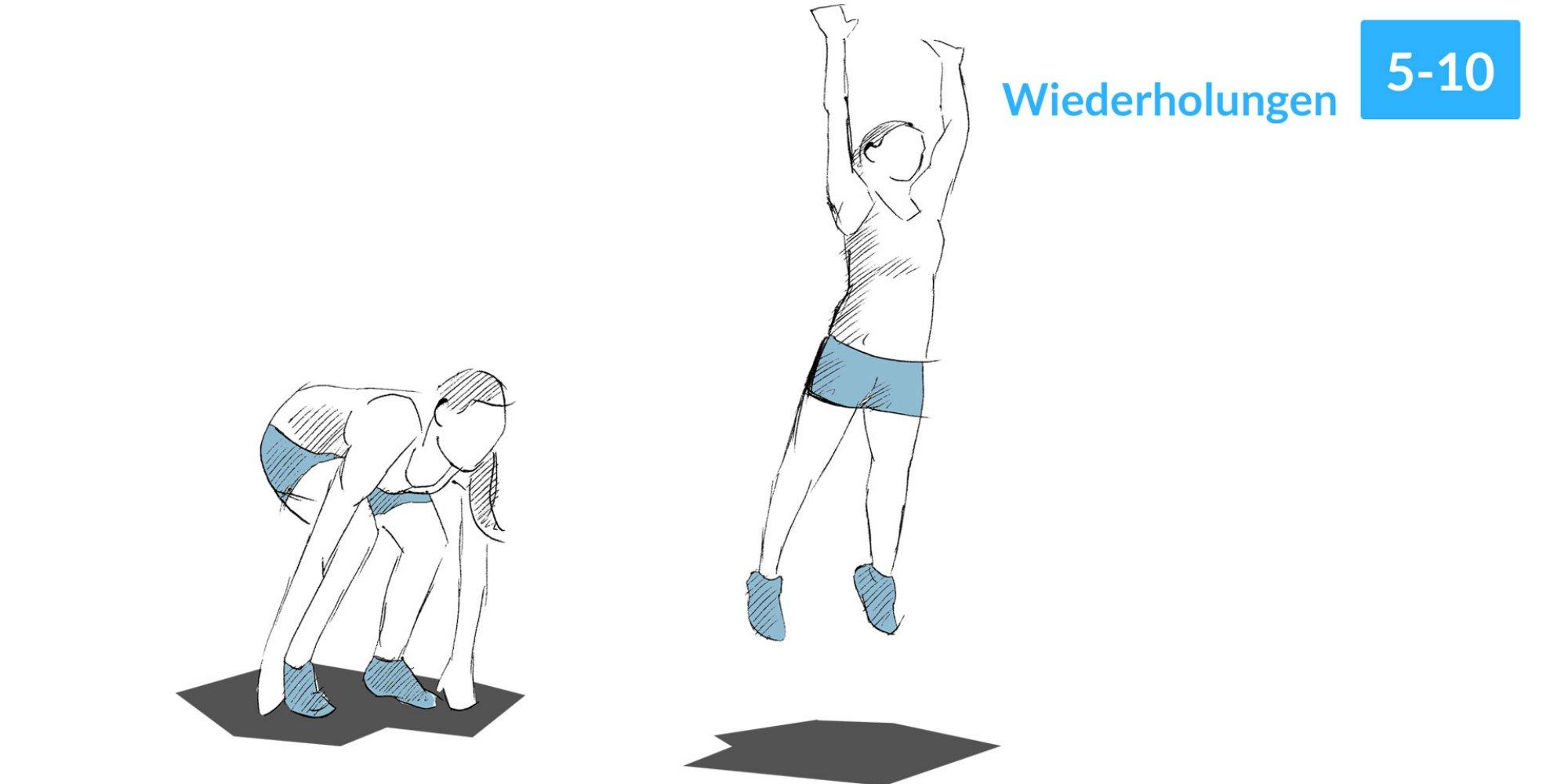Kniebeugen mit Strecksprung sind ein gutes Ganzkörpertraining.