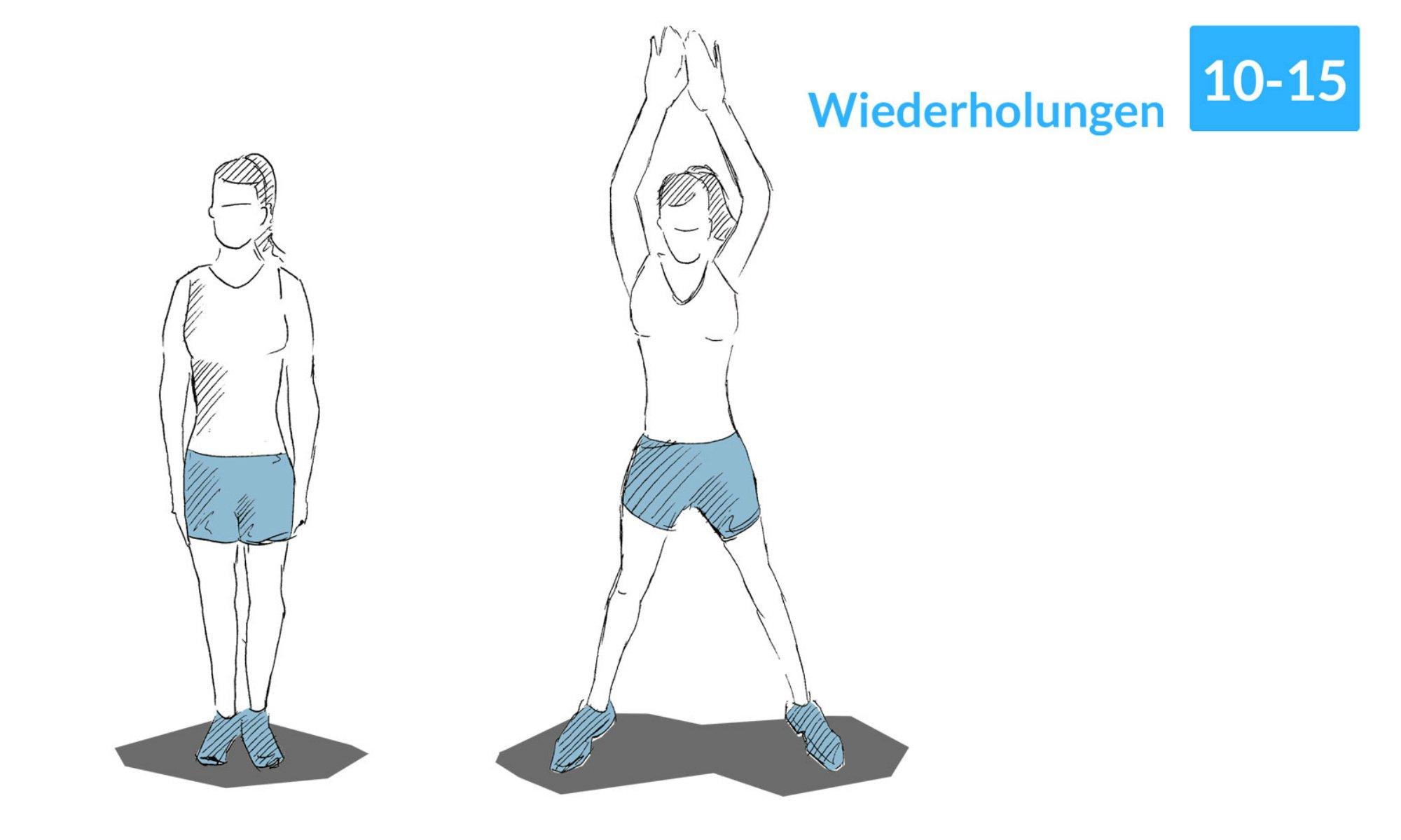 Jumping Jacks regen den Kreislauf an und verbessern die Kondition.