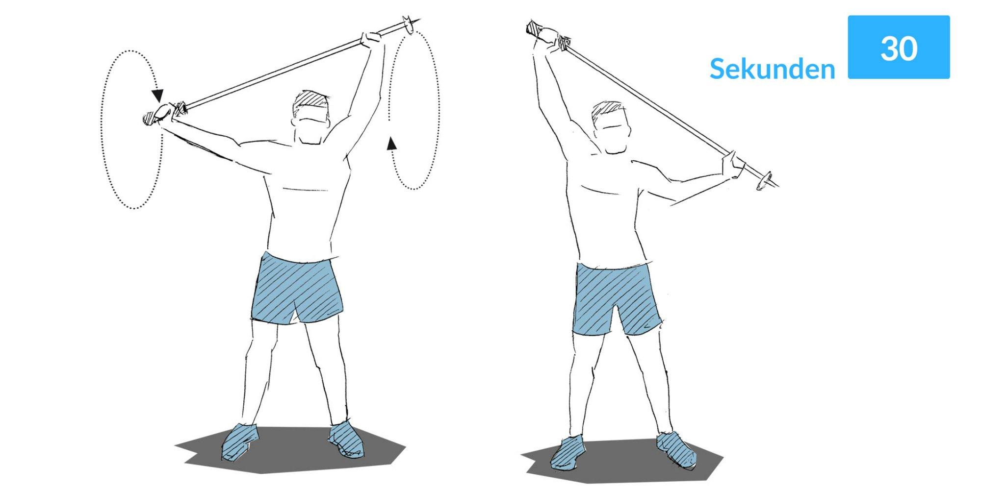 Das Schulterkreisen lockert den Schultergürtel.
