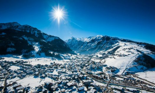 Panoramic view over the ski resort Zell am See in winter.