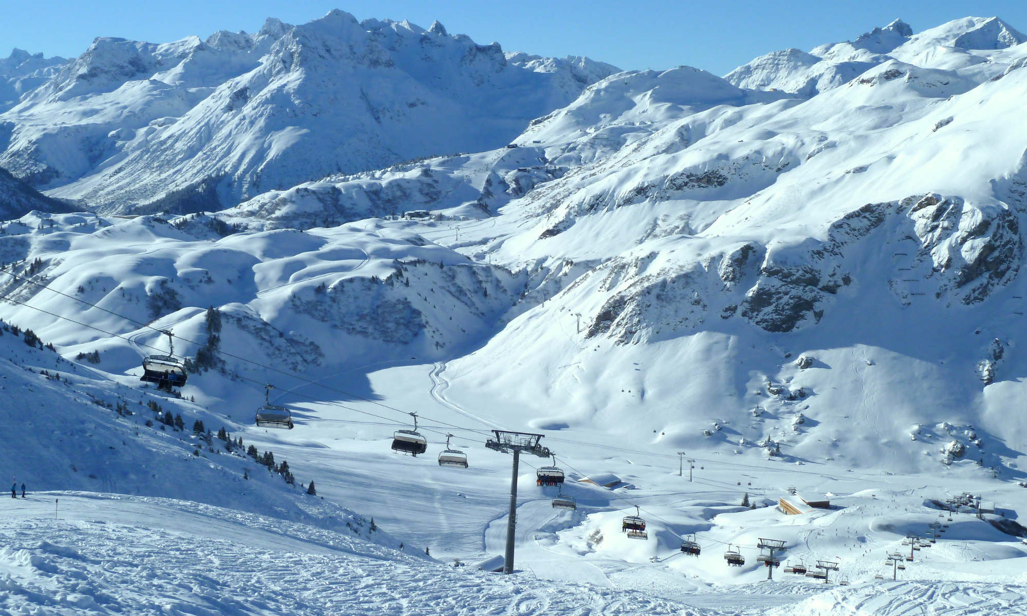 Panoramic view of the mountains and pistes in St Anton am Arlberg.