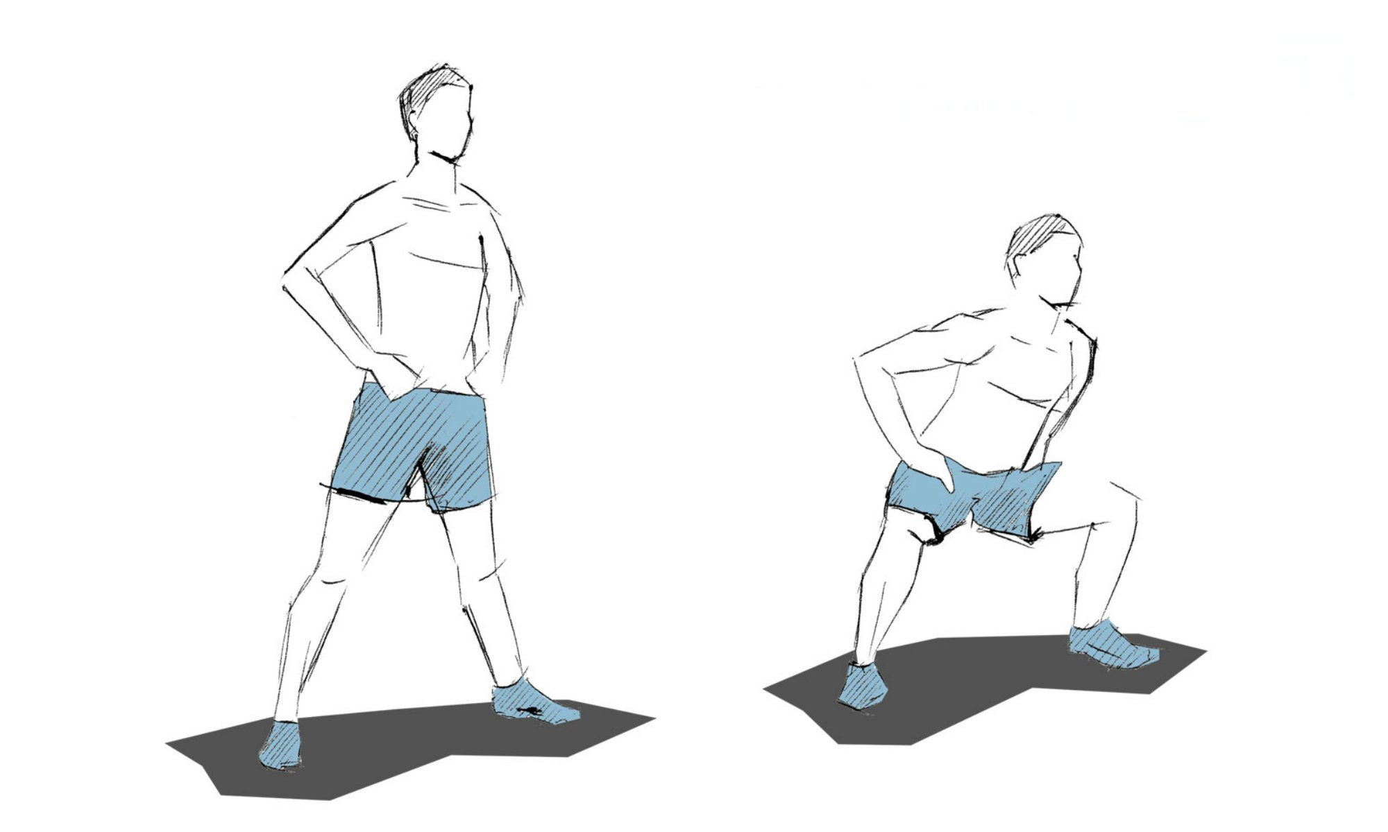 When doing sumo squats, your legs are further apart which requires more thigh muscles.