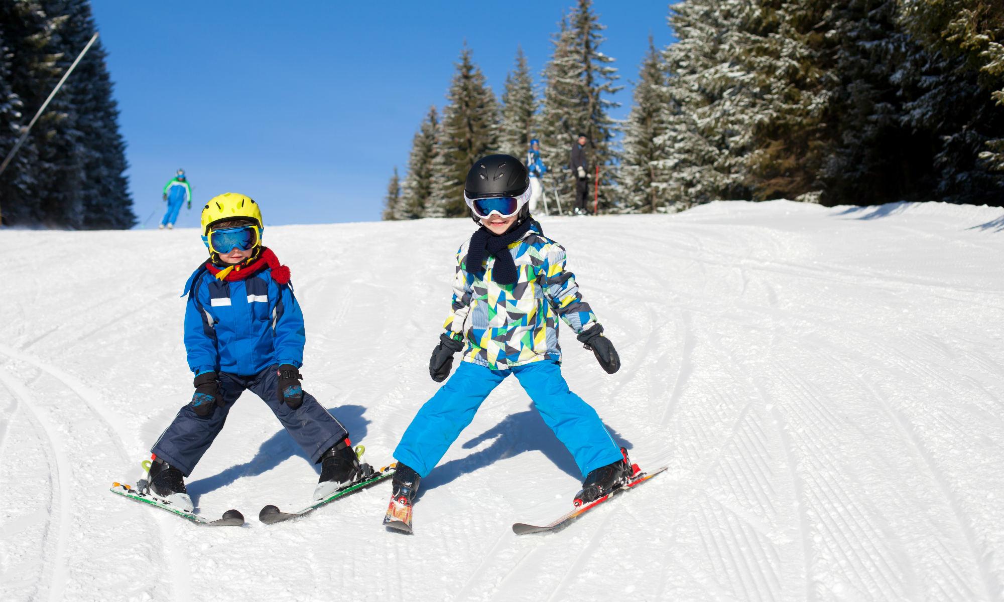 Zwei kleine Kinder fahren im Pflug einen Hügel hinunter.