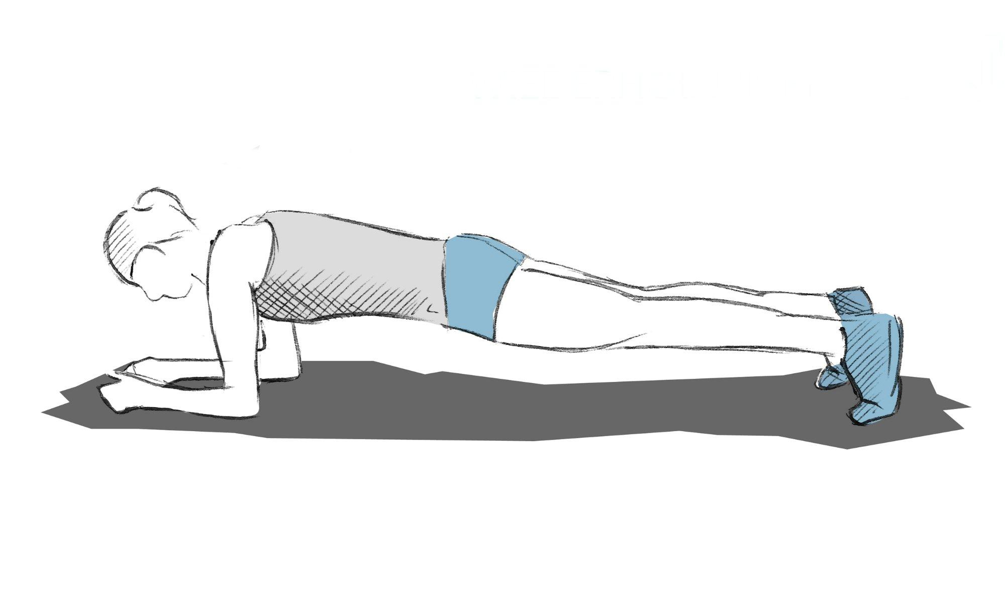 Position lors de l'exercice de la planche.
