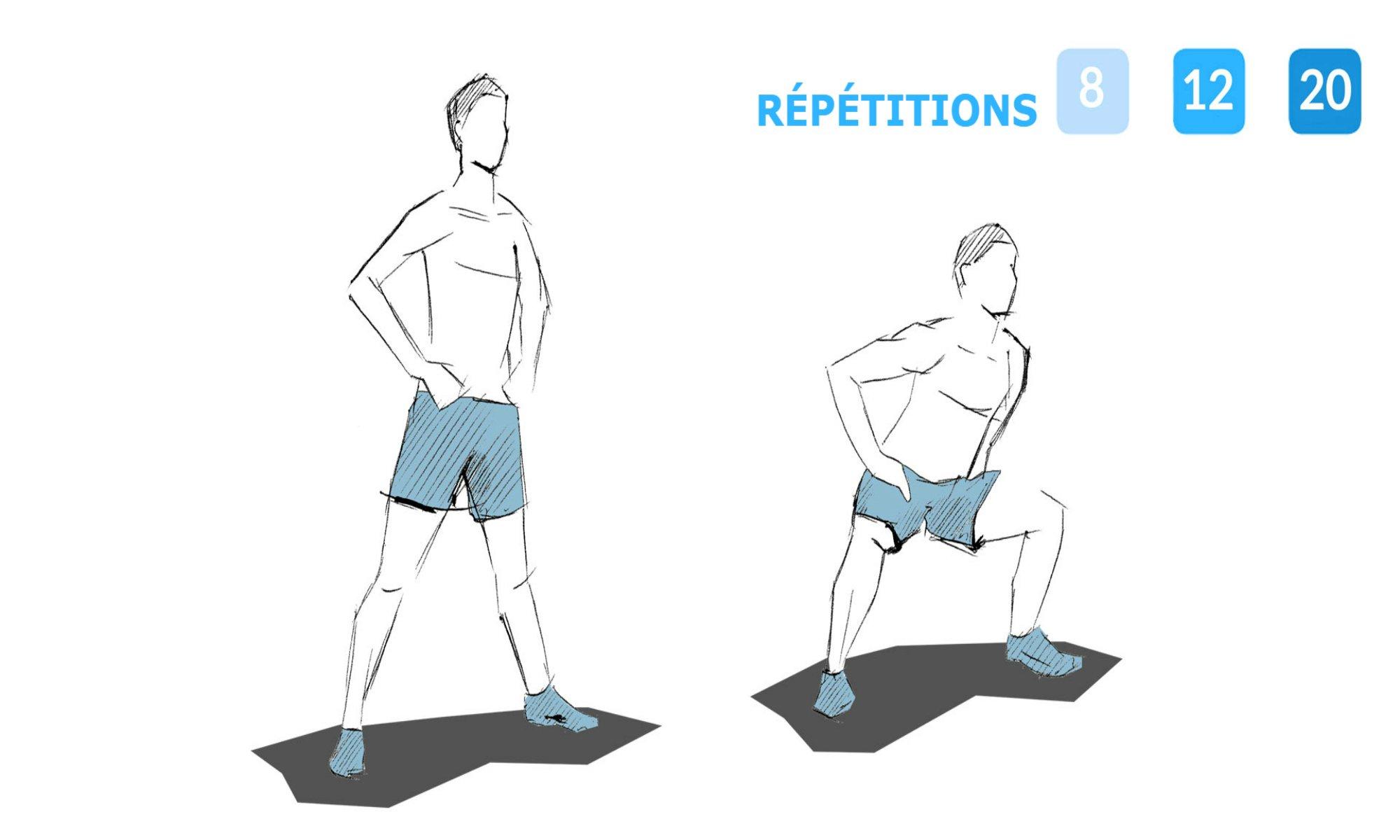 Instructions pour effectuer des squats sumo.