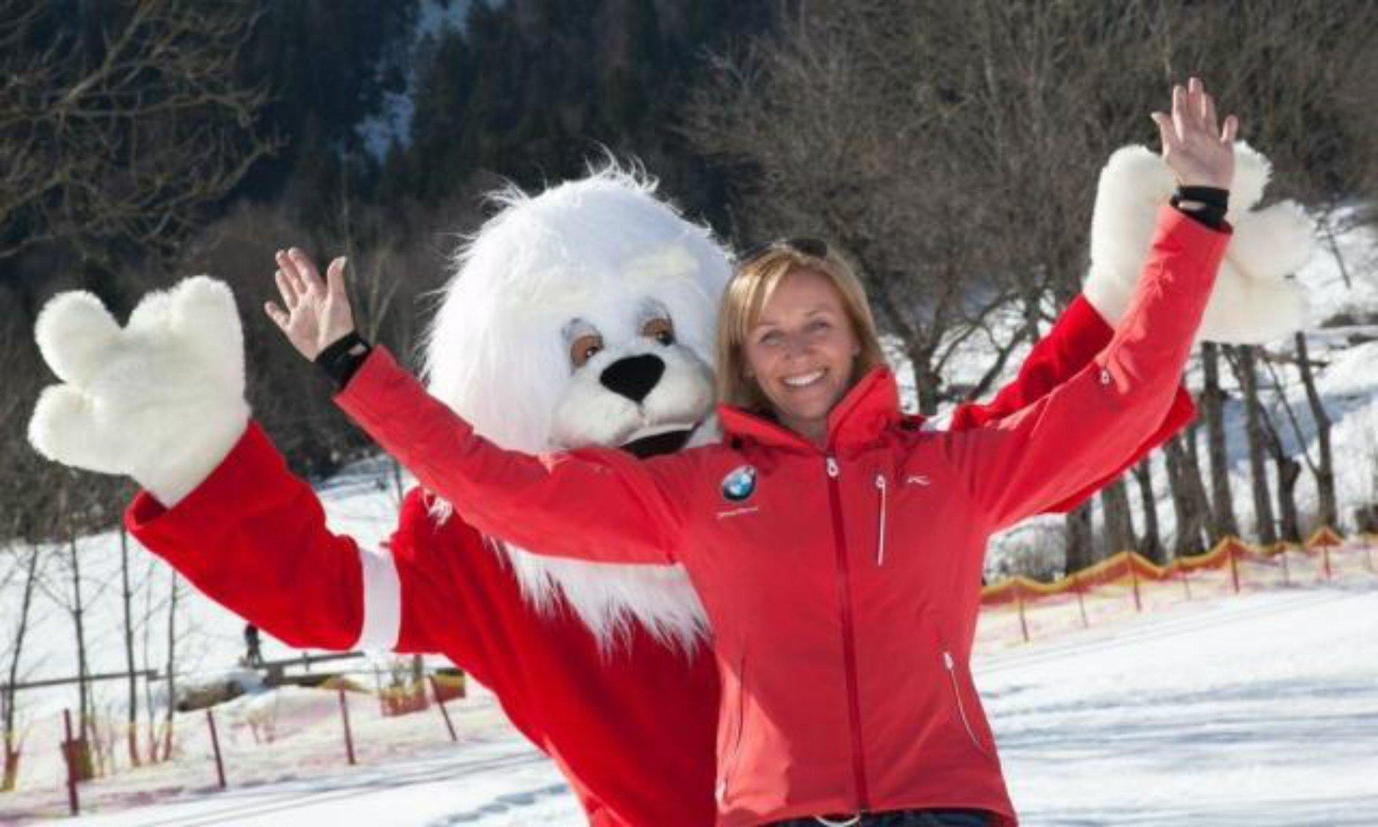 Michi Gerg im Kinderland ihrer eigenen Skischule in Lenggries.