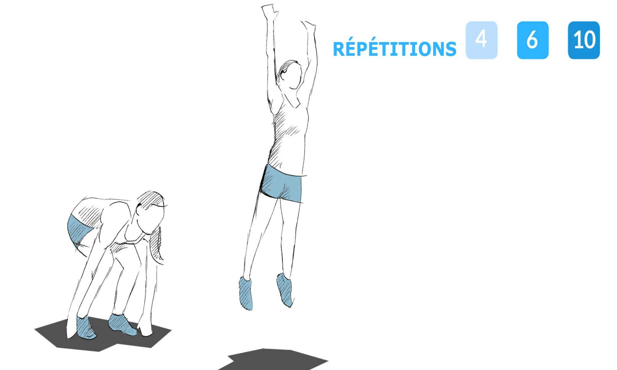 Instructions pour effectuer des sauts en extension.