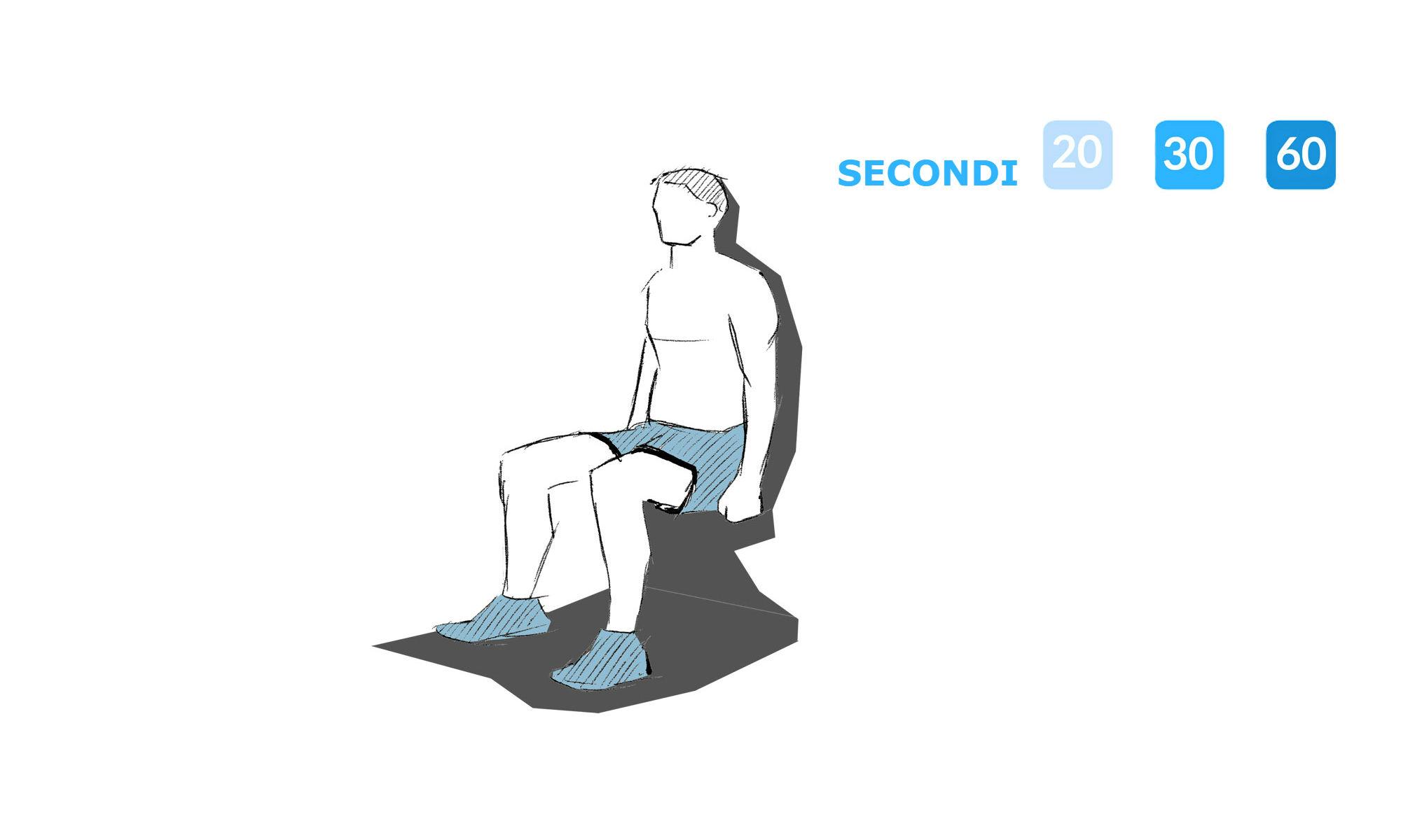 istruzioni per fare squat contro un muro.
