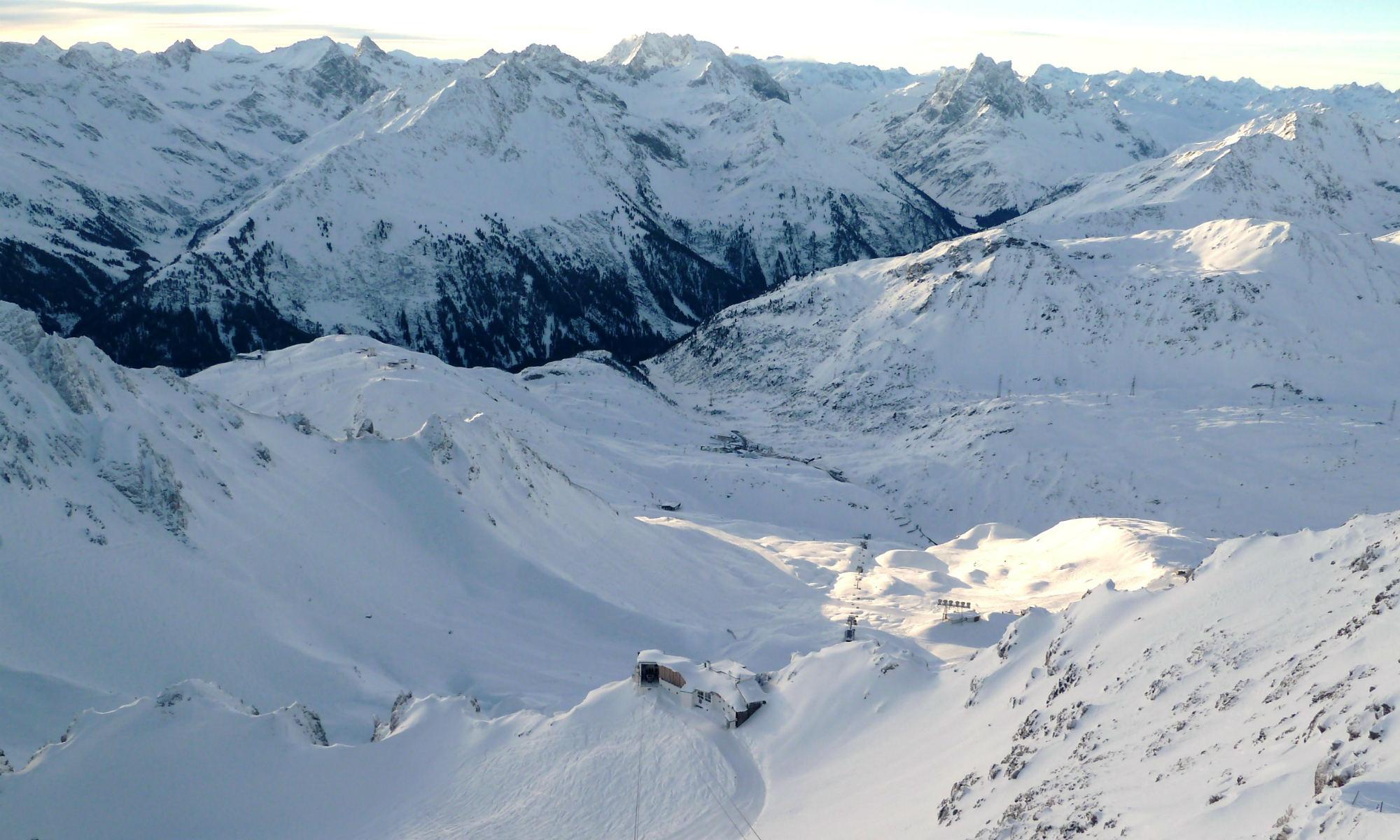 Panorama dalla cima del Valluga a St. Anton.