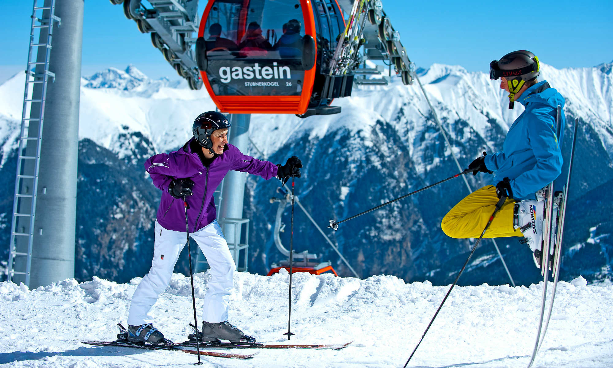 Adult skiers at the mountain station of Stubnerkogel in Bad Gastein.