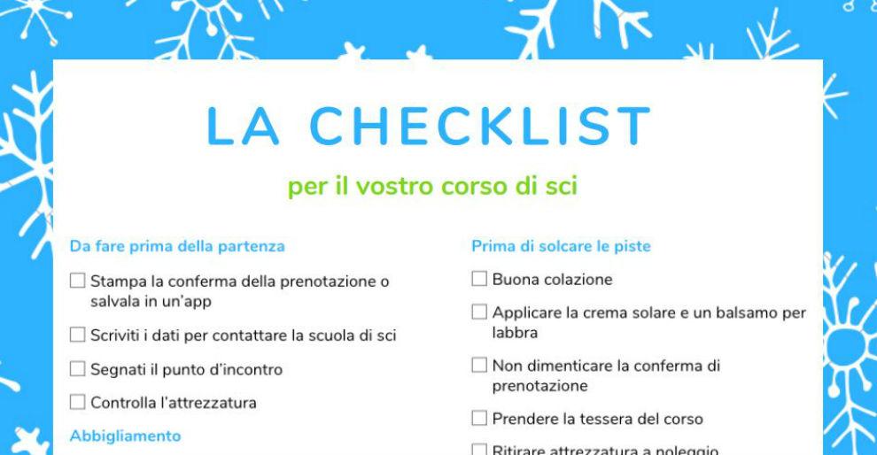 La Checklist per il vostro corso di sci.