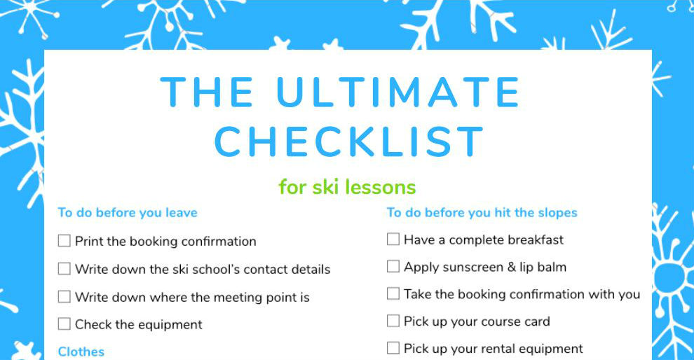 Ultimate checklist for ski lessons by CheckYeti.