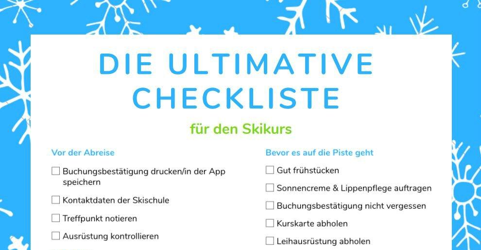 Vorschau der CheckYeti Checkliste für den Skikurs.
