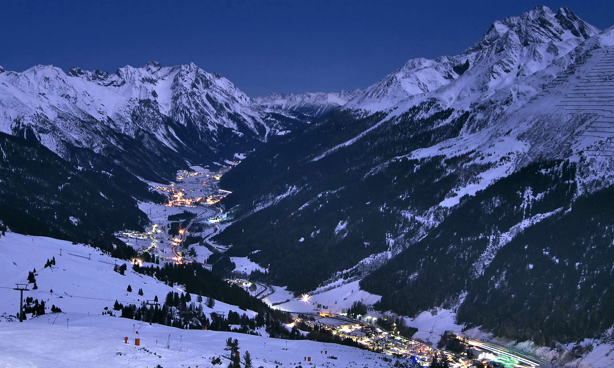 Night view of St Anton from the Galzig mountain.