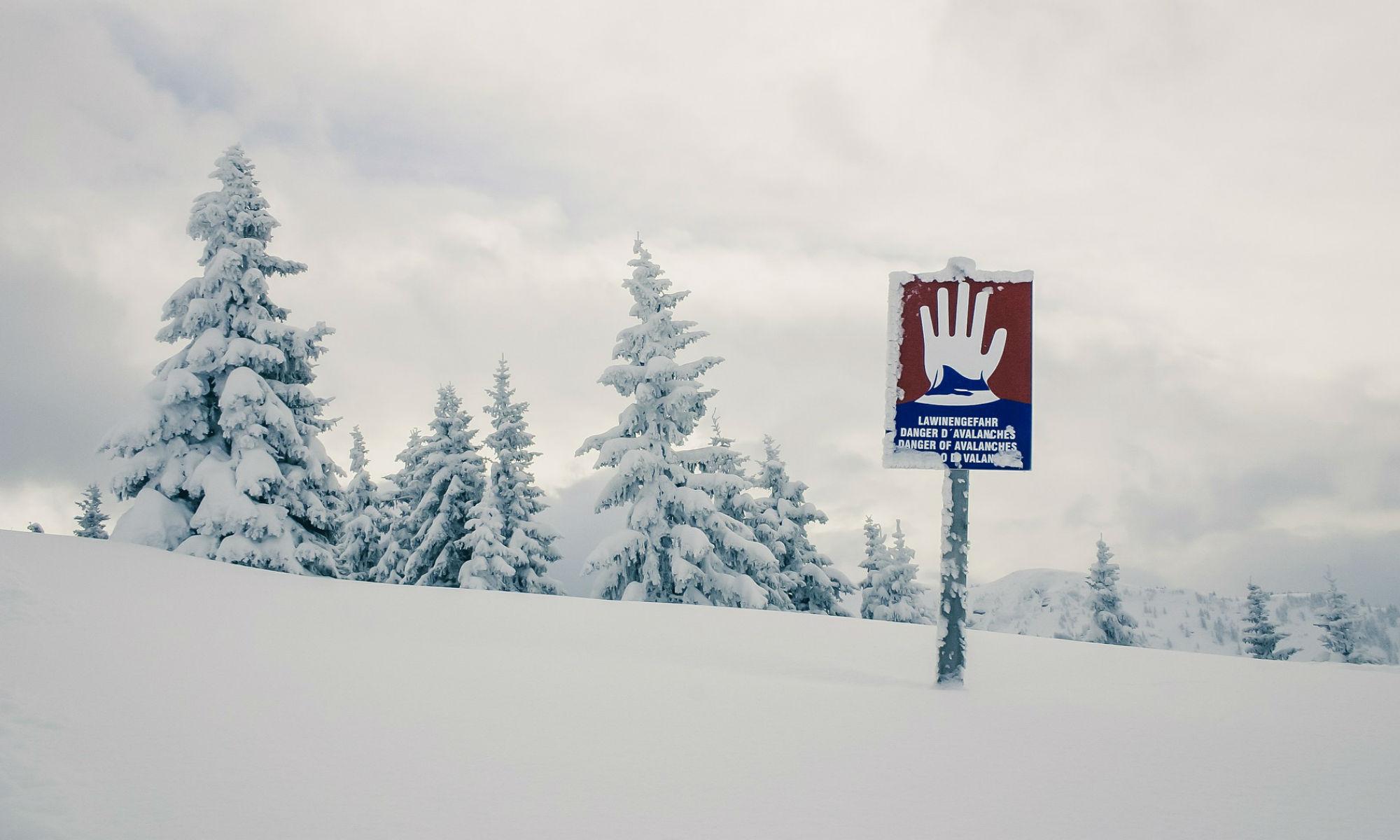 Ein Lawinenwarnschild in einem tief verschneiten Waldstück.