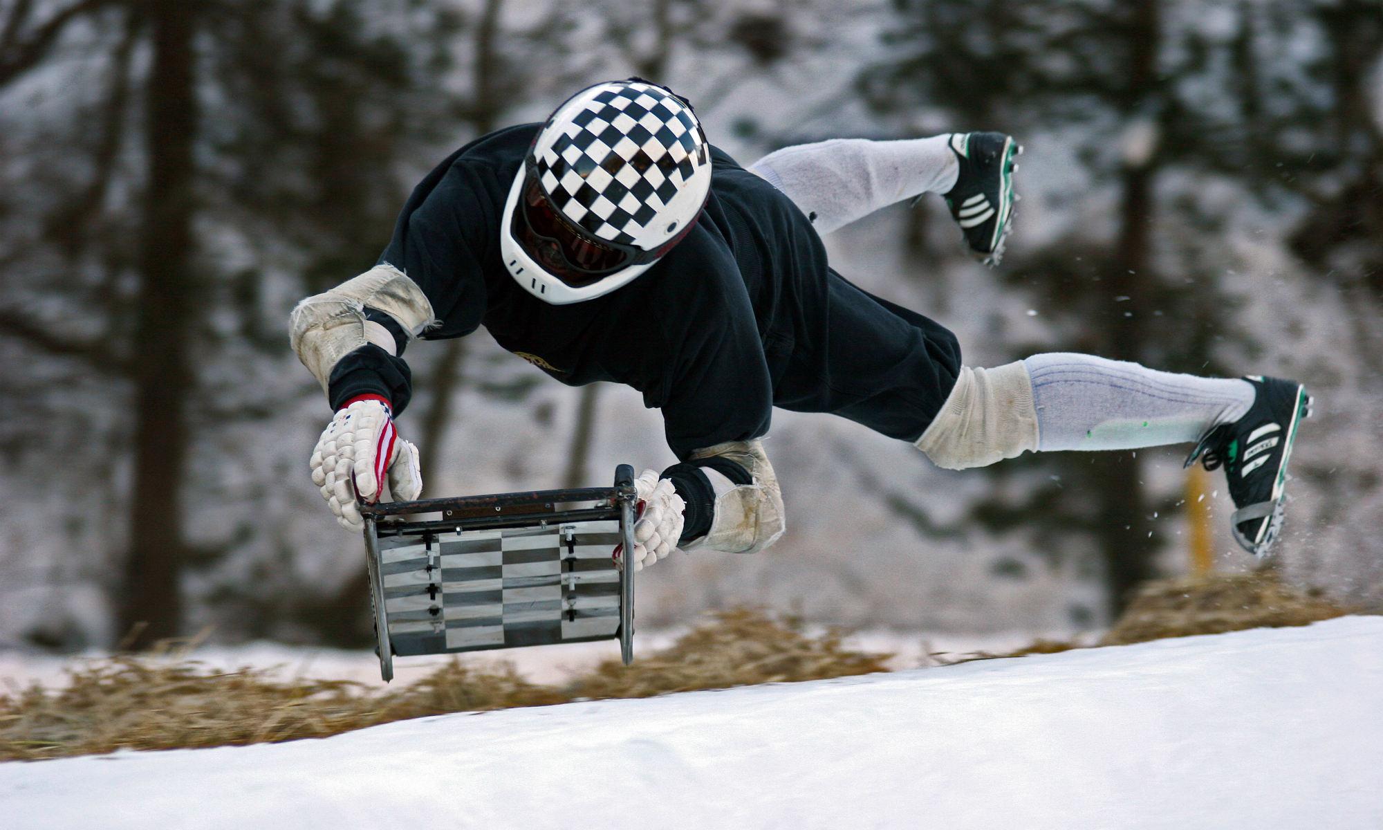 Ein Teilnehmer des Cresta Runs in St. Moritz.
