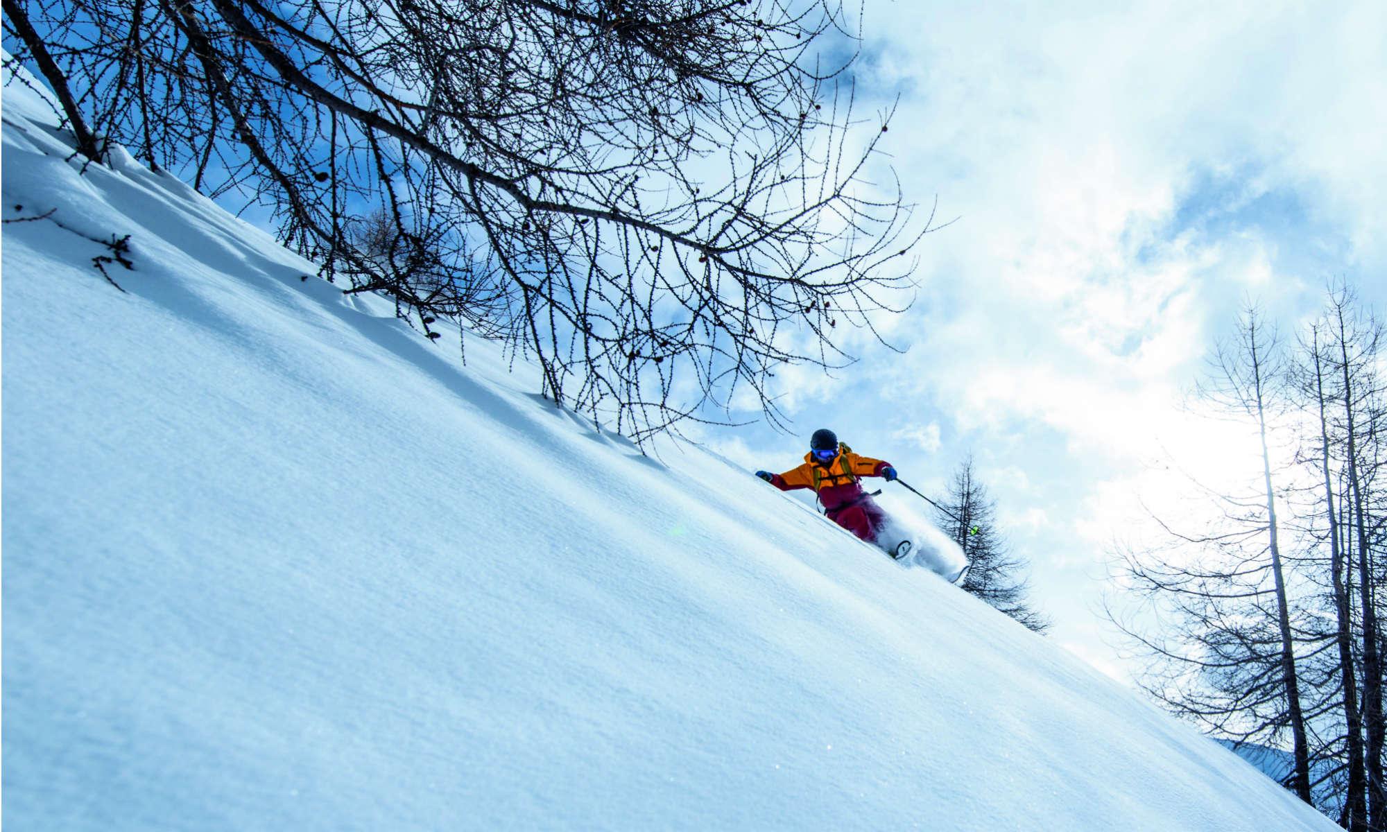 Freerider beim Tiefschneefahren auf einer Waldlichtung im Skigebiet Davos Klosters.