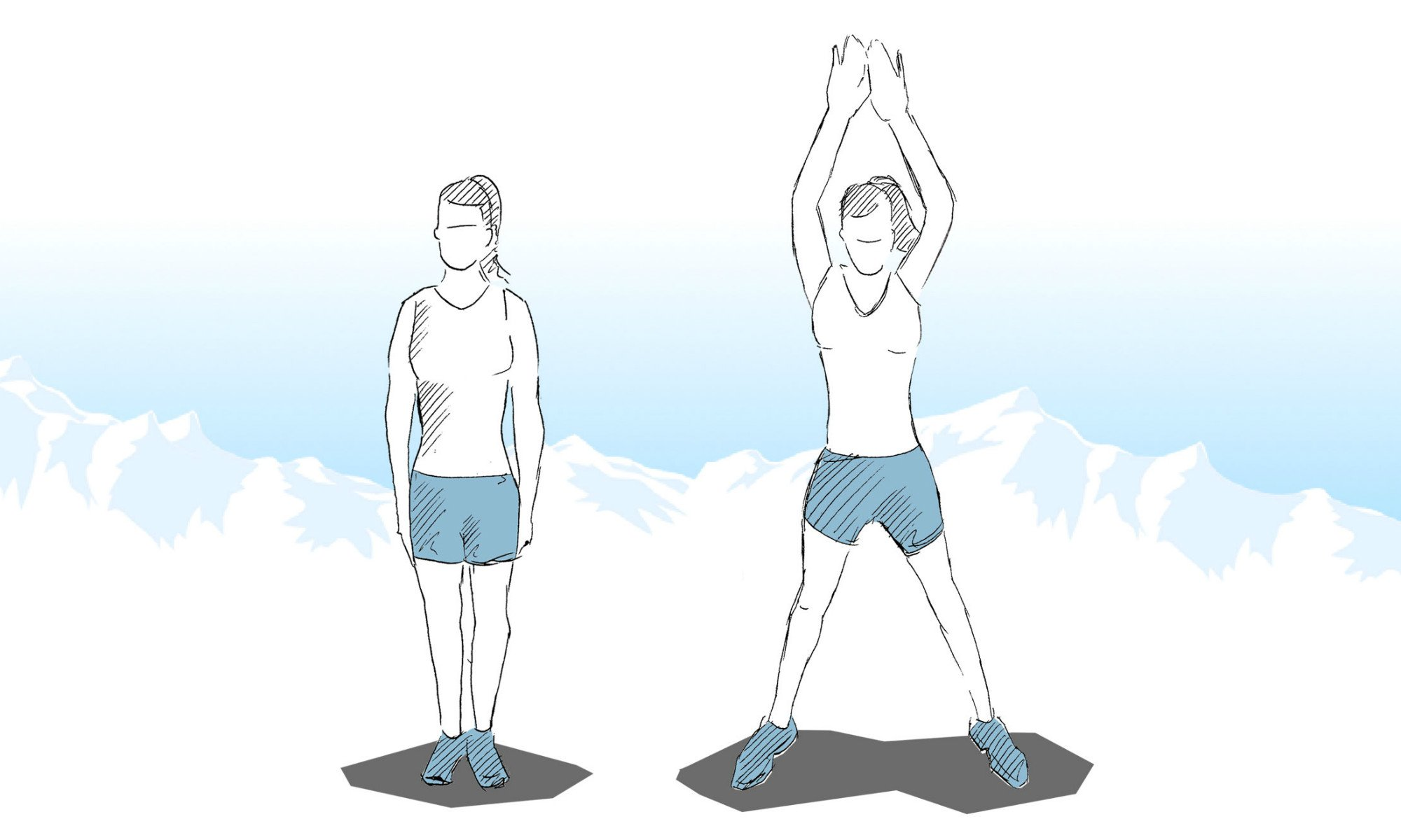 Instructions for successfully doing jumping jacks.