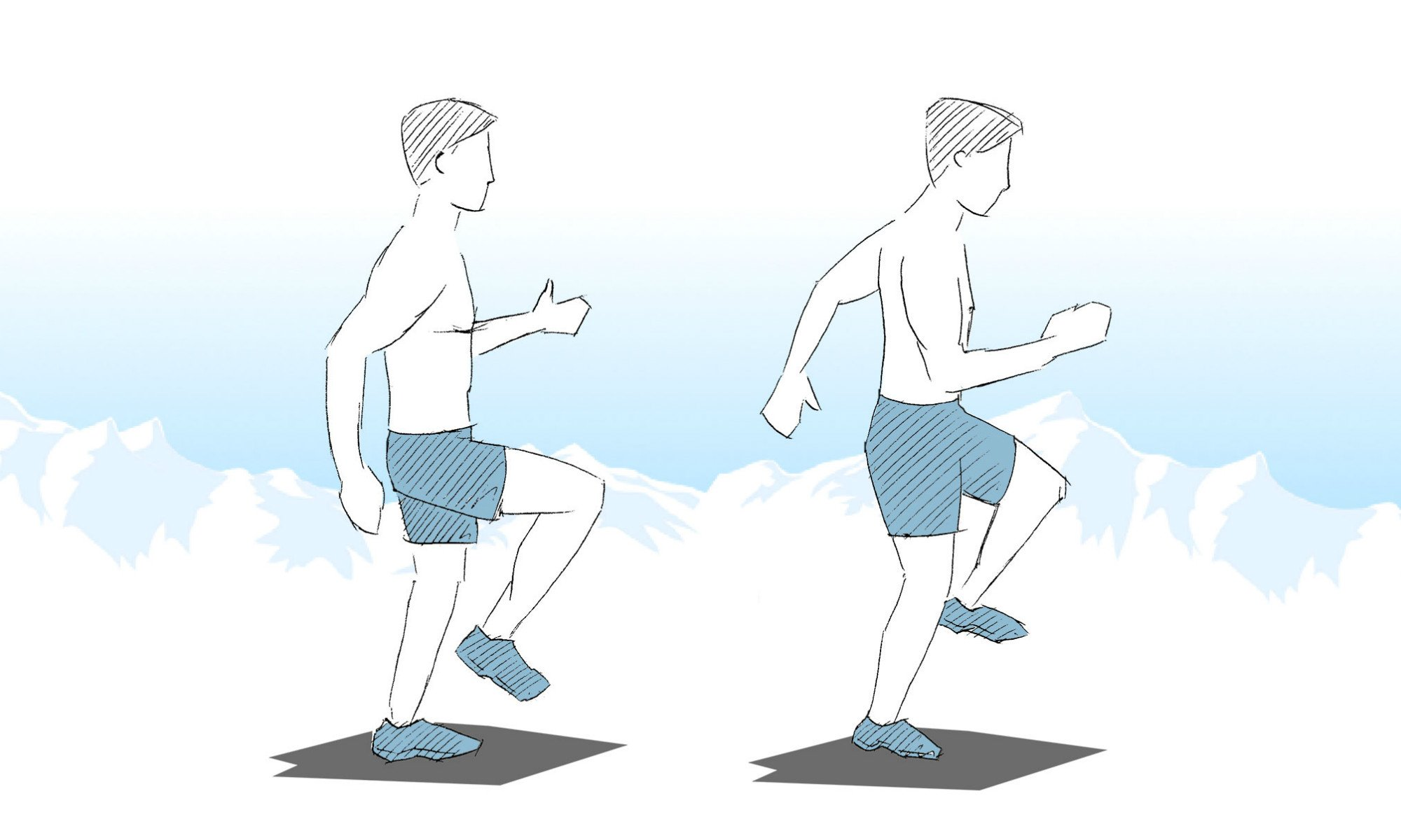 Representation of the walking-on-the-spot exercise.