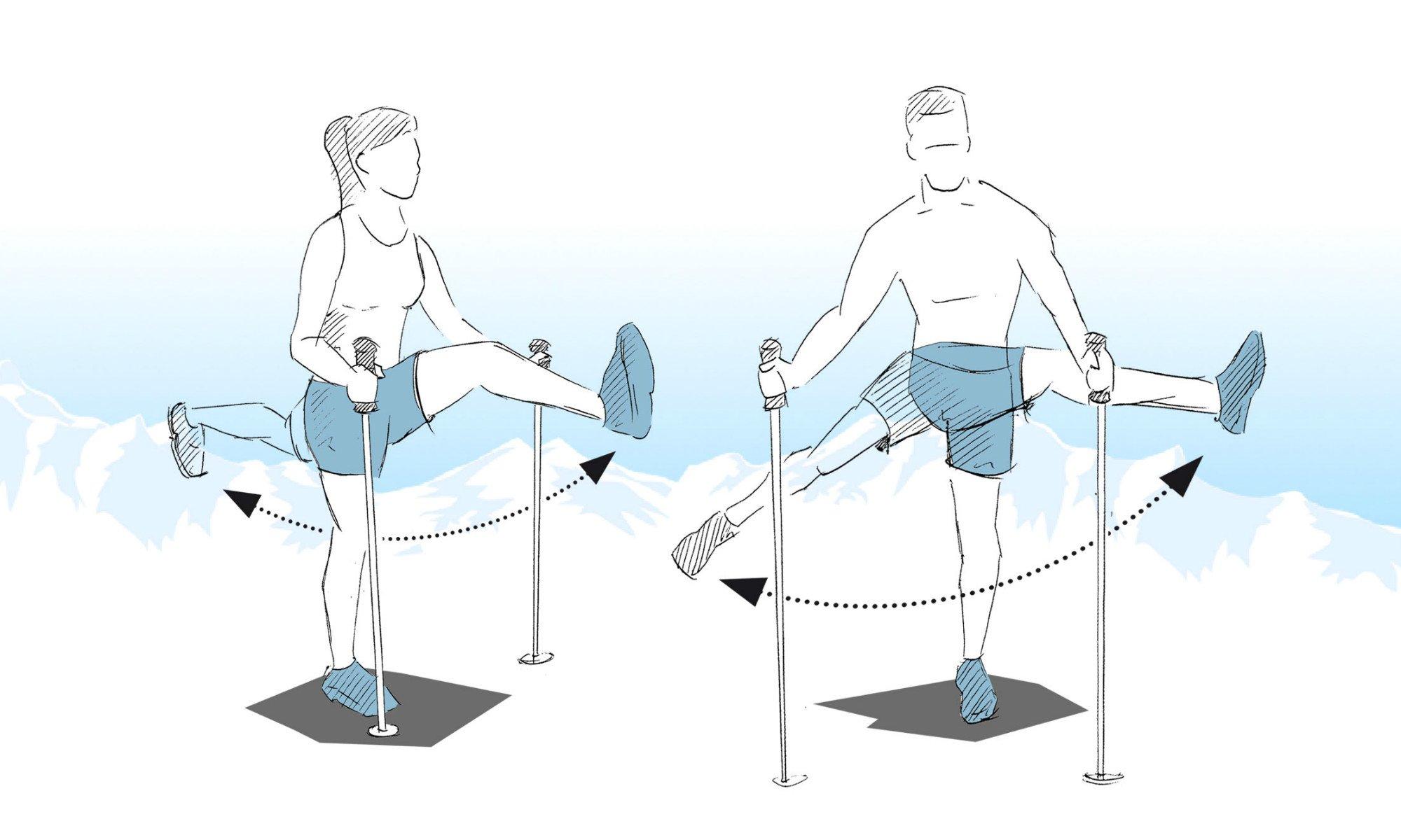 Démonstration du balancement des jambes.