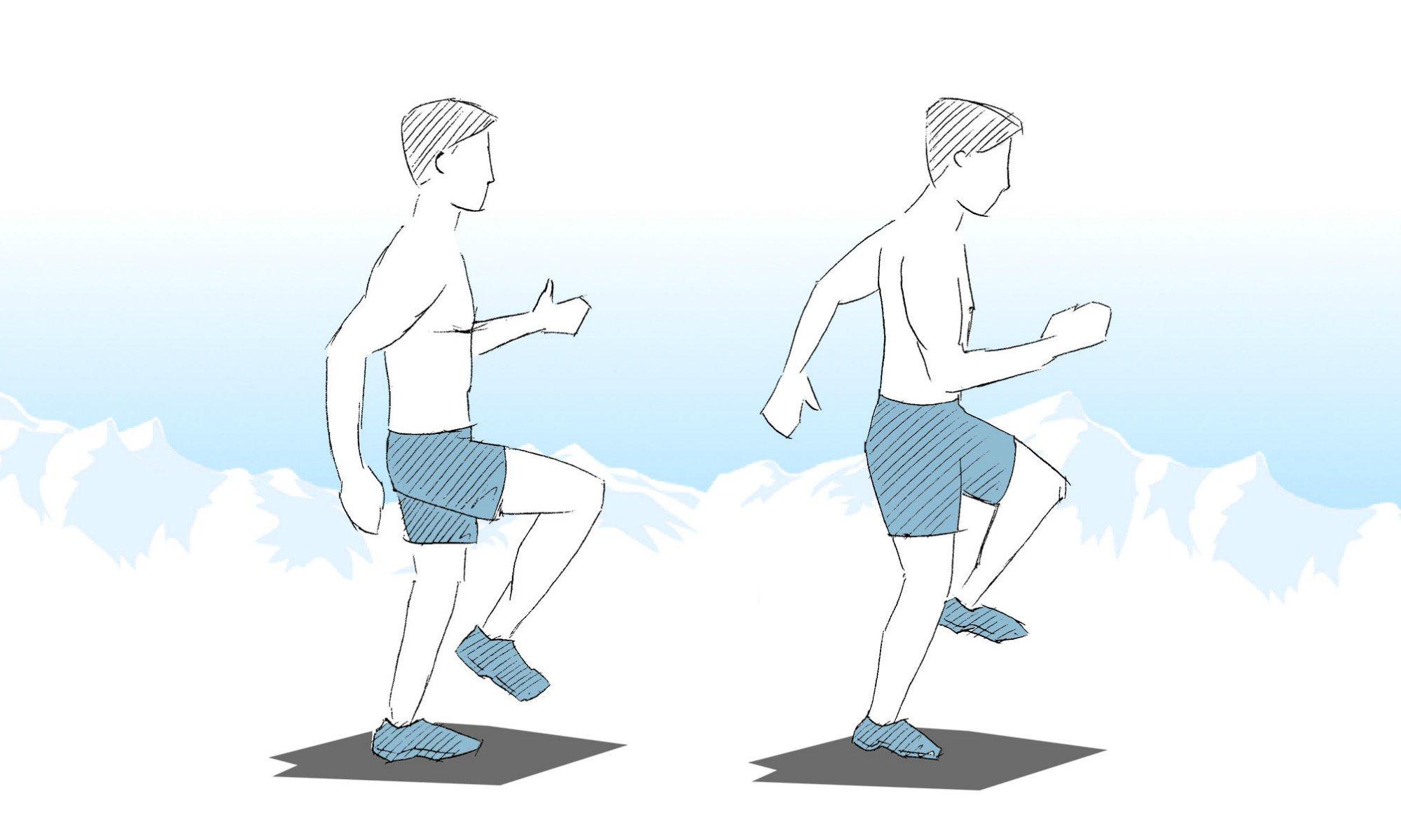 Représentation de l'exercice de marche sur place.