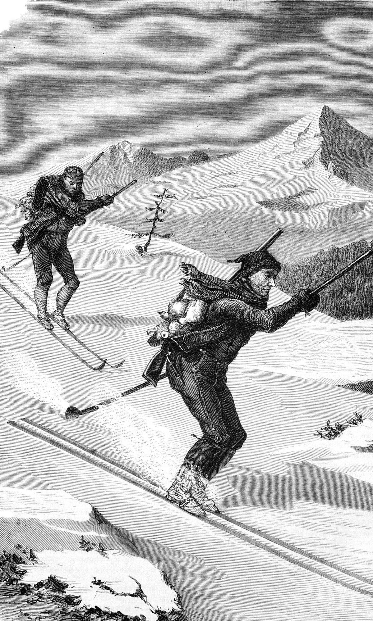 Schneehuhnjäger auf Skiern bei der Abfahrt.