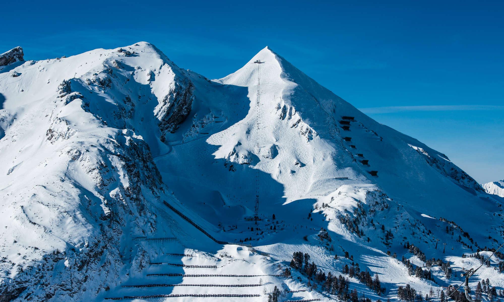 Blick auf die berühmte Abfahrt Gamsleiten 2 in Obertauern.
