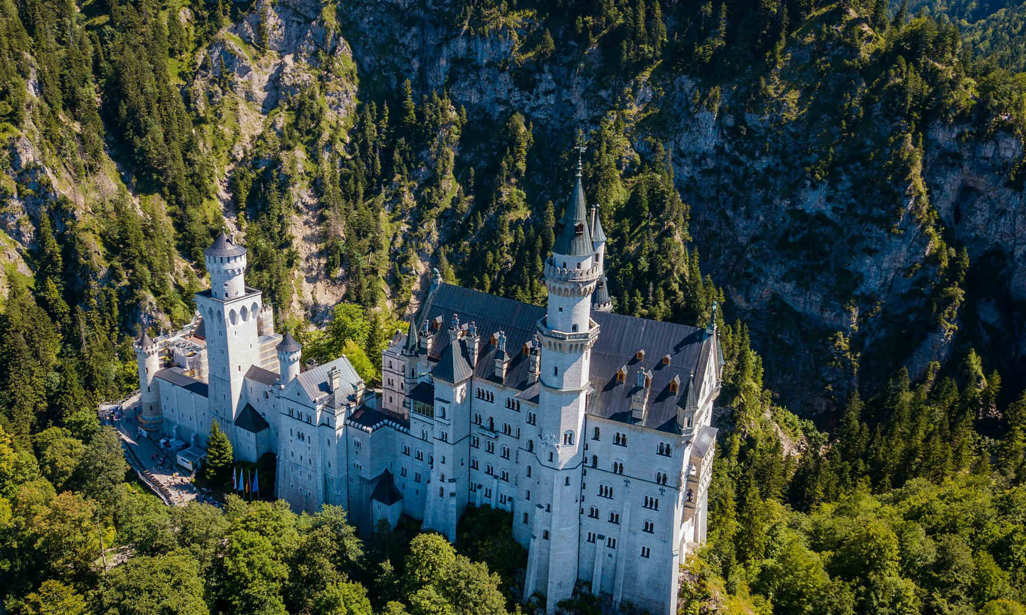 A bird's-eye view of Neuschwanstein castle in Bavaria.