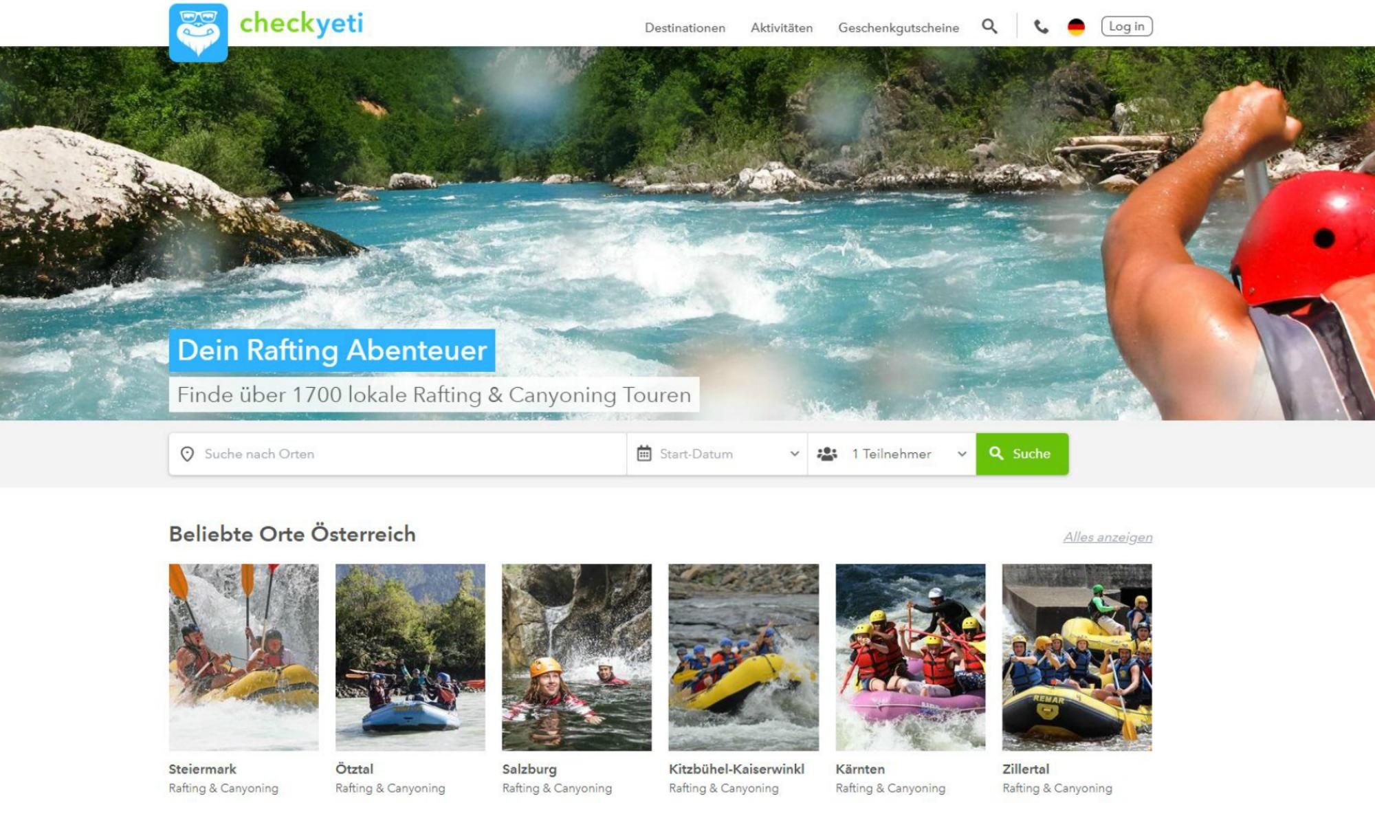 Auf der Rafting Startseite kann die Wunschregion eingegeben oder ein beliebter Ort ausgewählt werden.