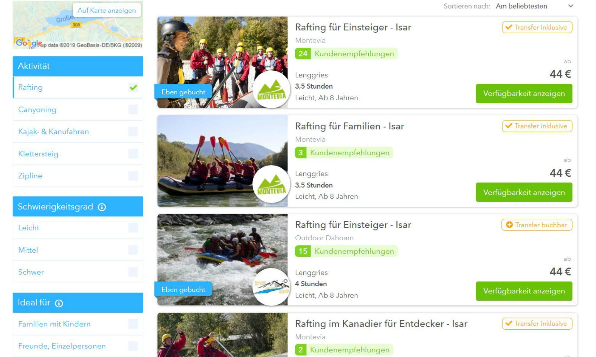 Die Filterfunktion der Rafting & Canyoning Seite von CheckYeti.