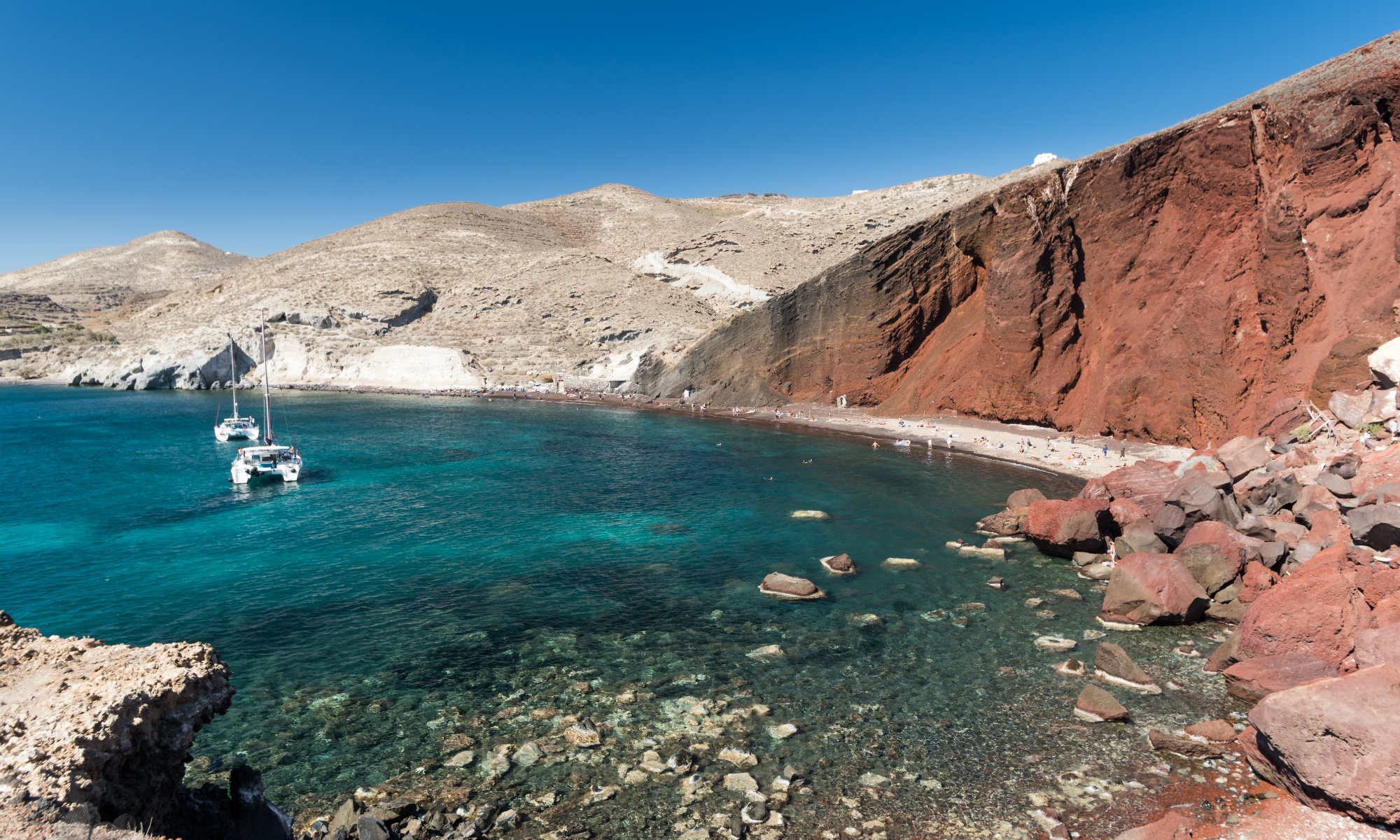 View of the Red Beach in Santorini.