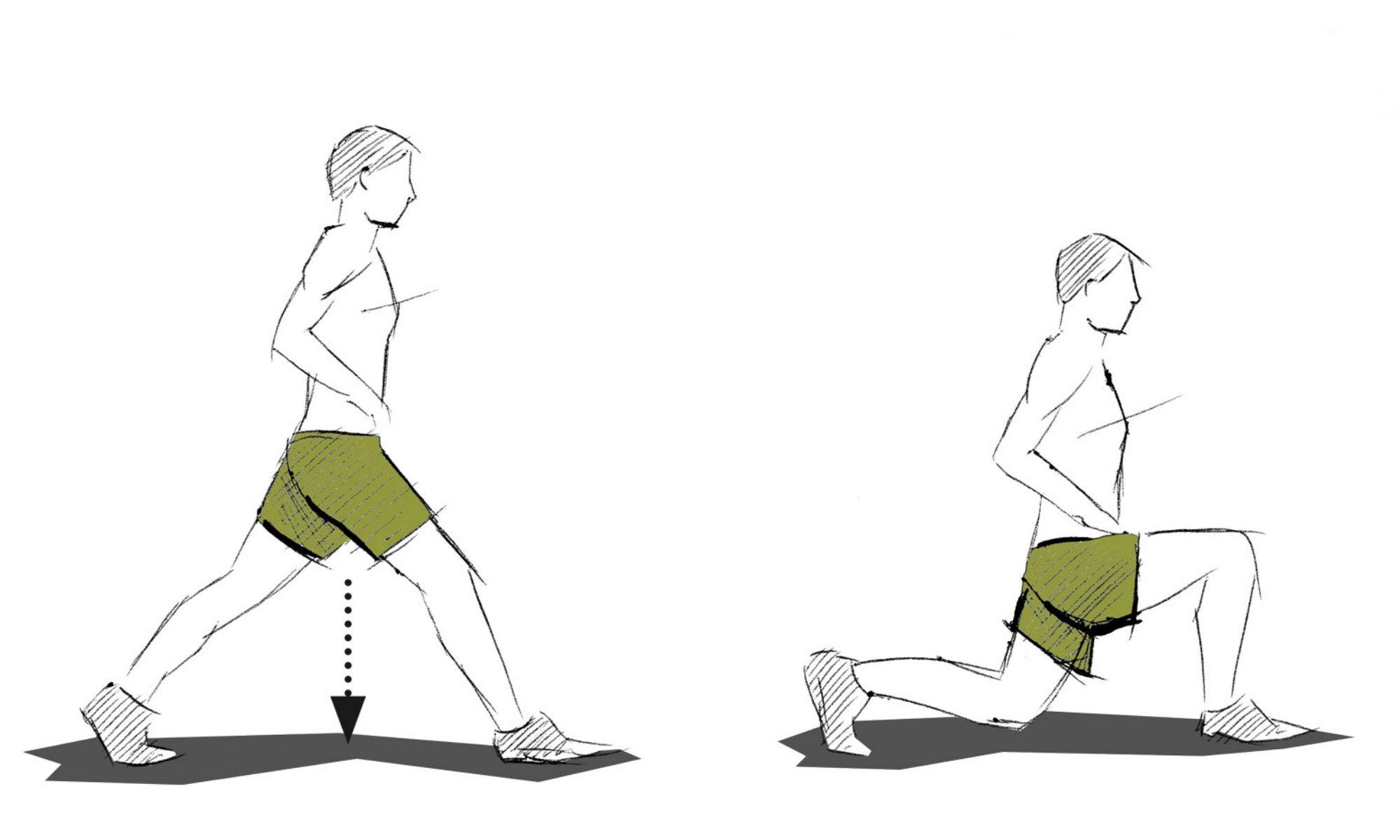Bij lunges is het belangrijk om zo laag mogelijk met je heupen te zakken zonder de grond te raken.
