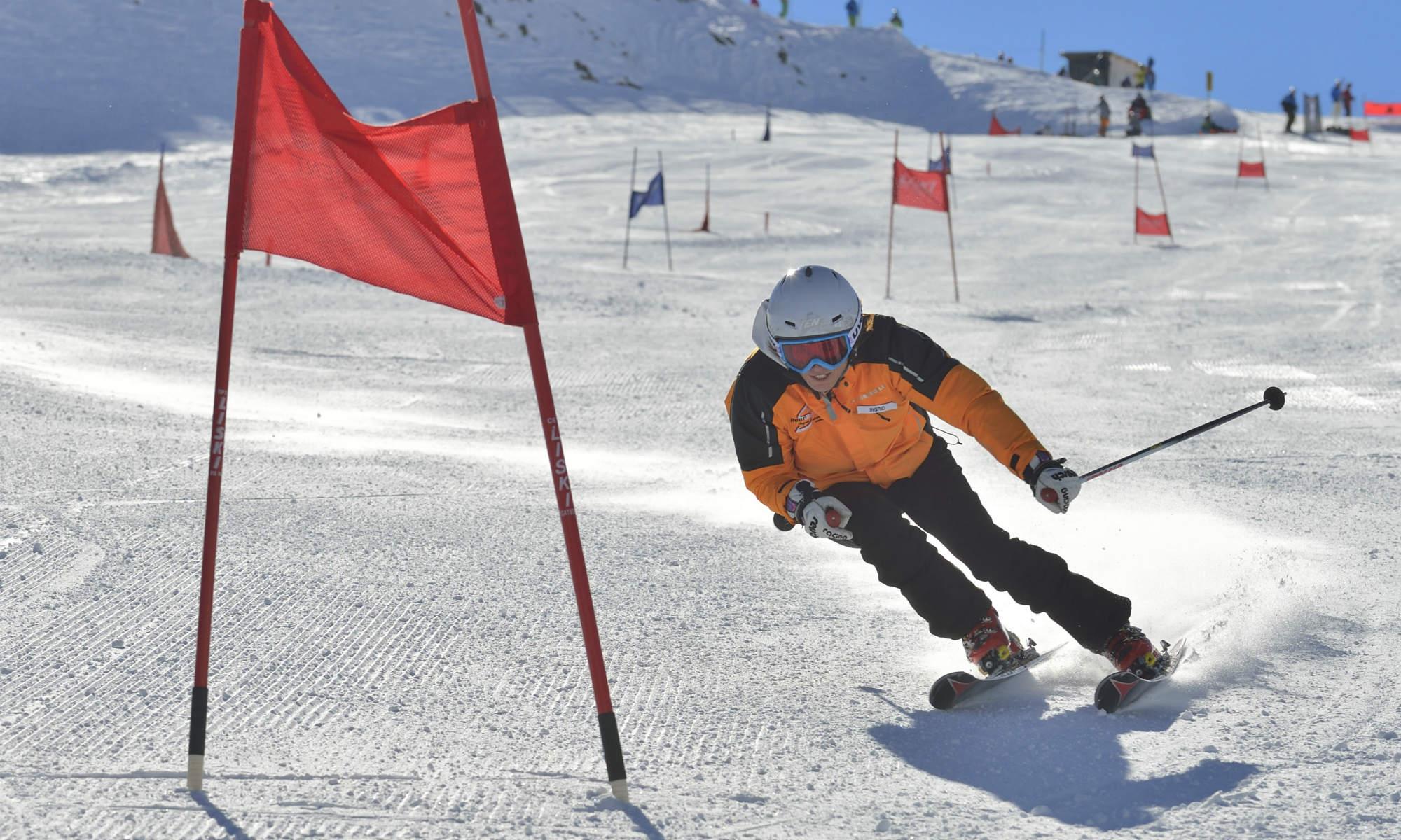 Ski racer Ingrid Salvenmoser demonstrates race carving.