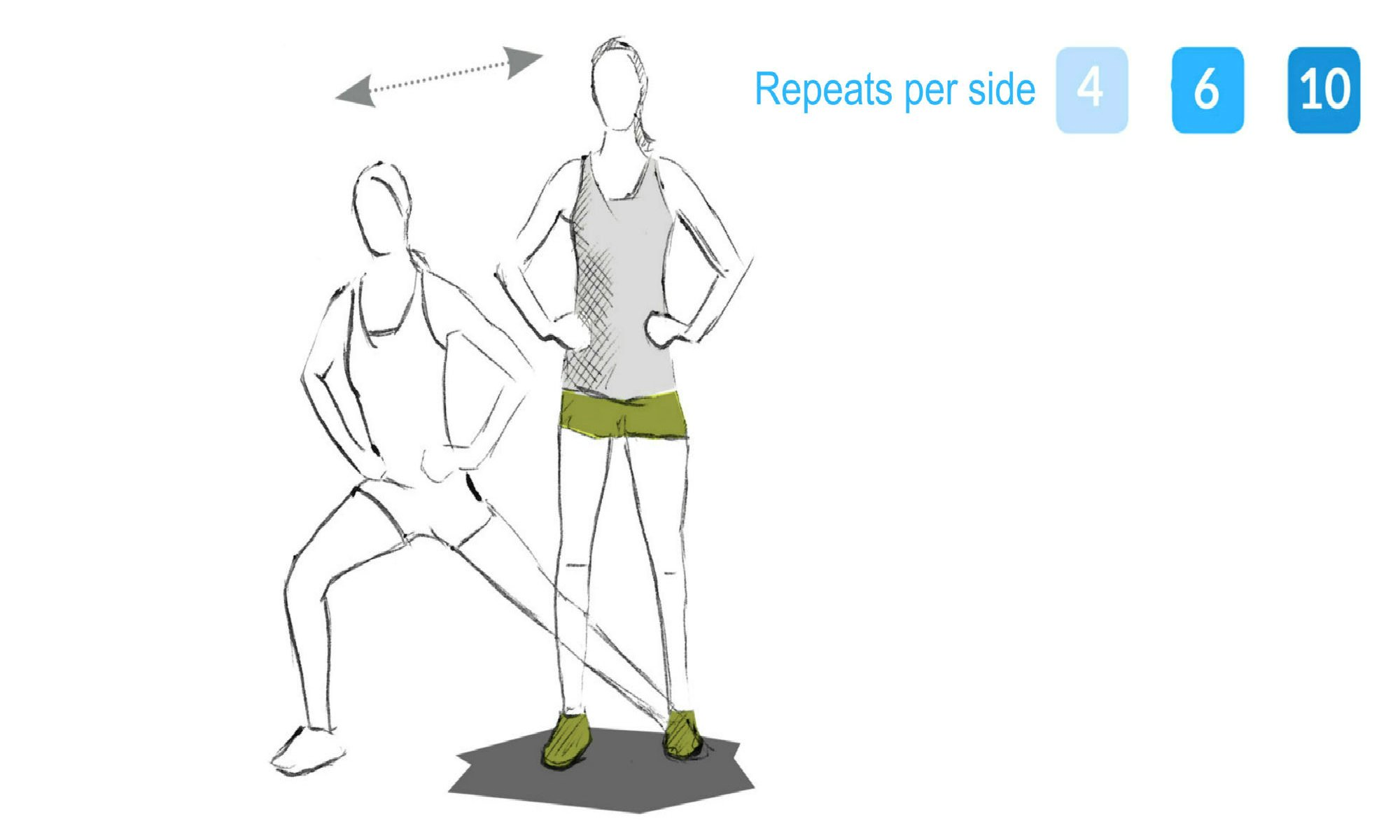 The sideways lunge exercise.