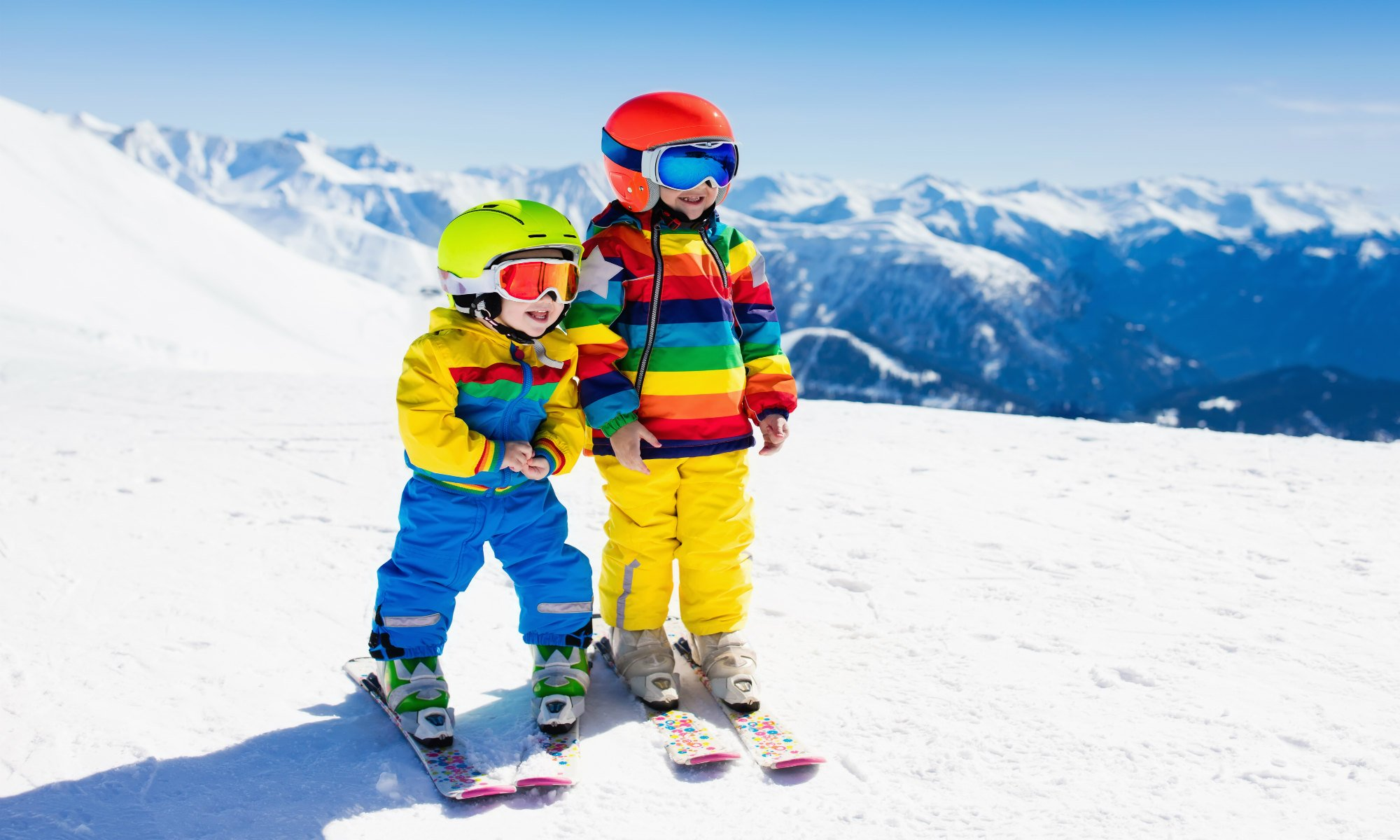 Two young skiers on the slopes in Les Gets.