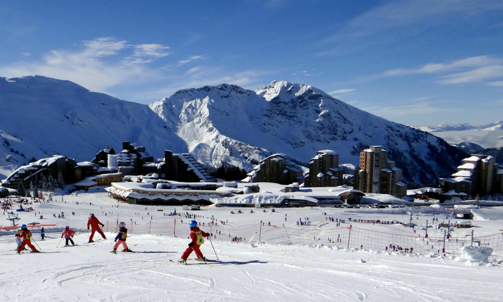 A beginners ski lesson on nursery slopes near Avoriaz.
