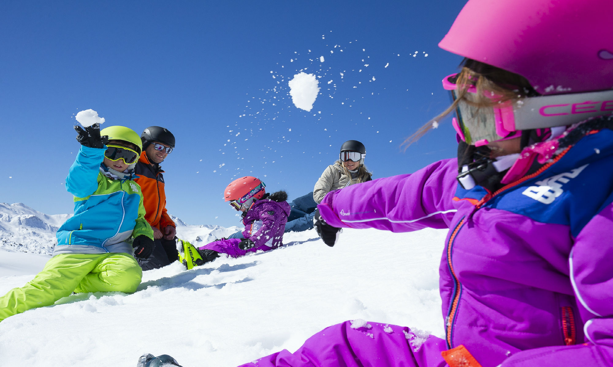 A family having fun at the La Plagne funslope