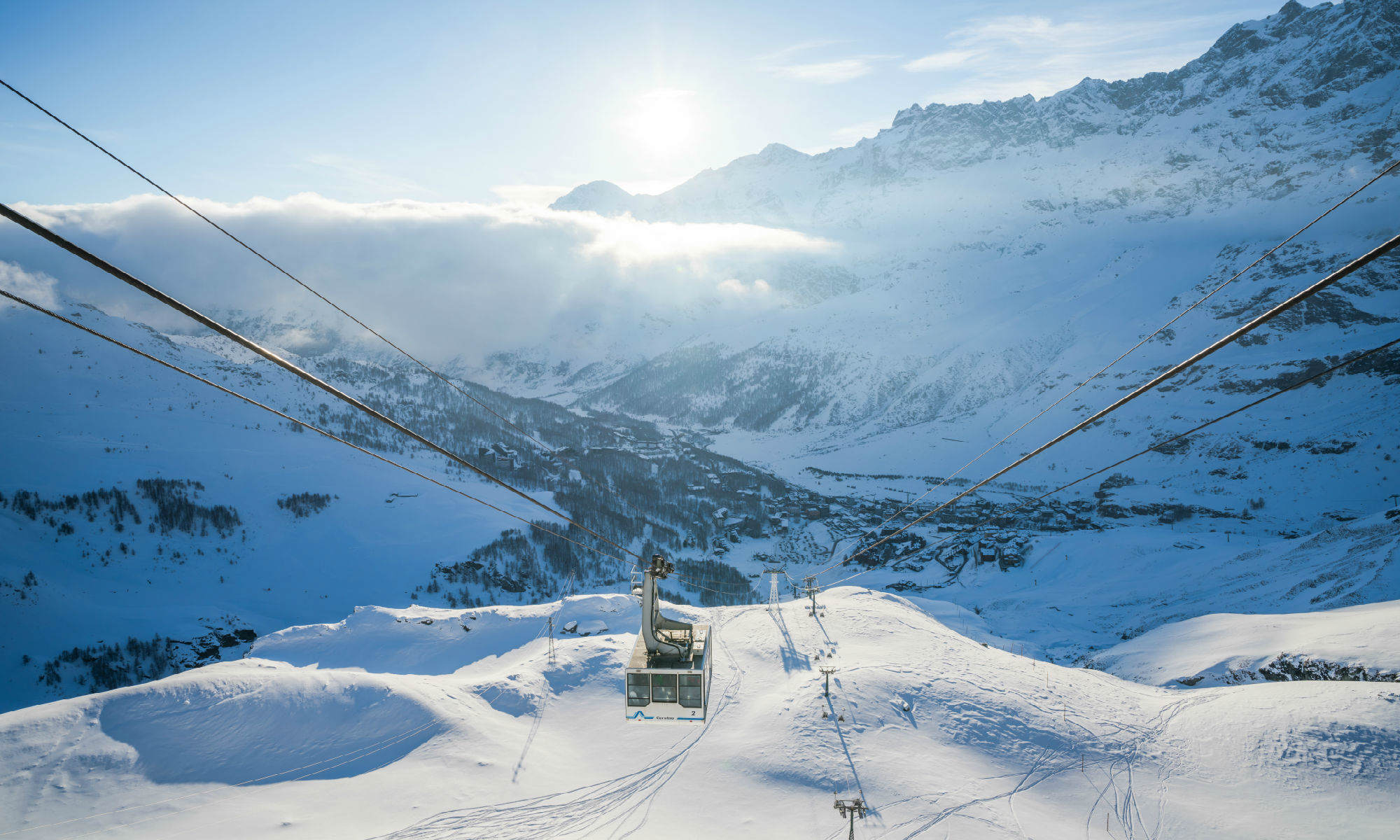 Beautiful view from high up of the pistes at Breuil-Cervinia.