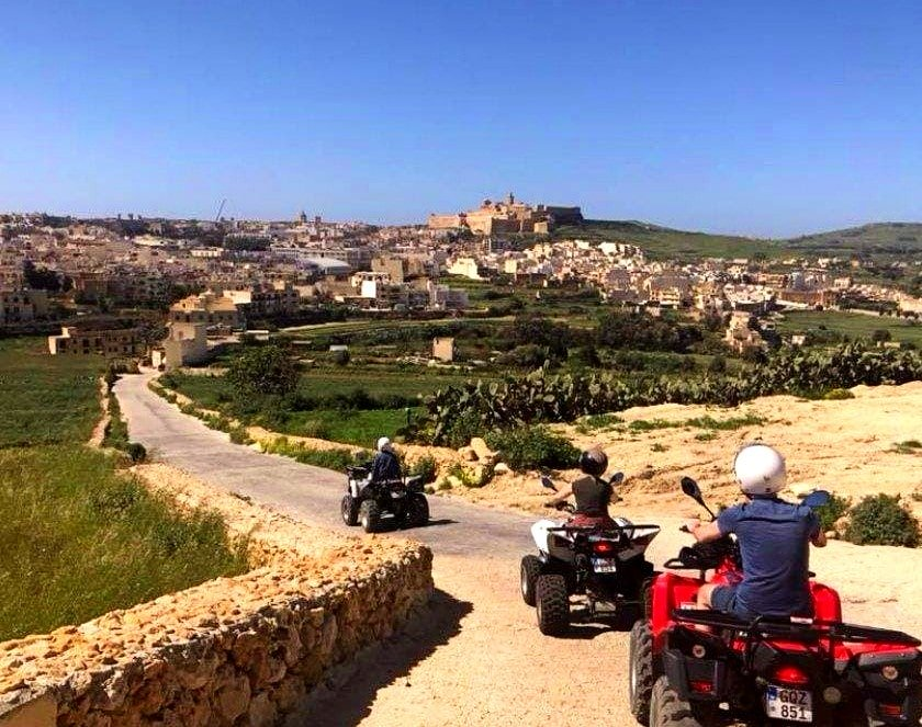 A group of Quad bikes are visiting Gozo.