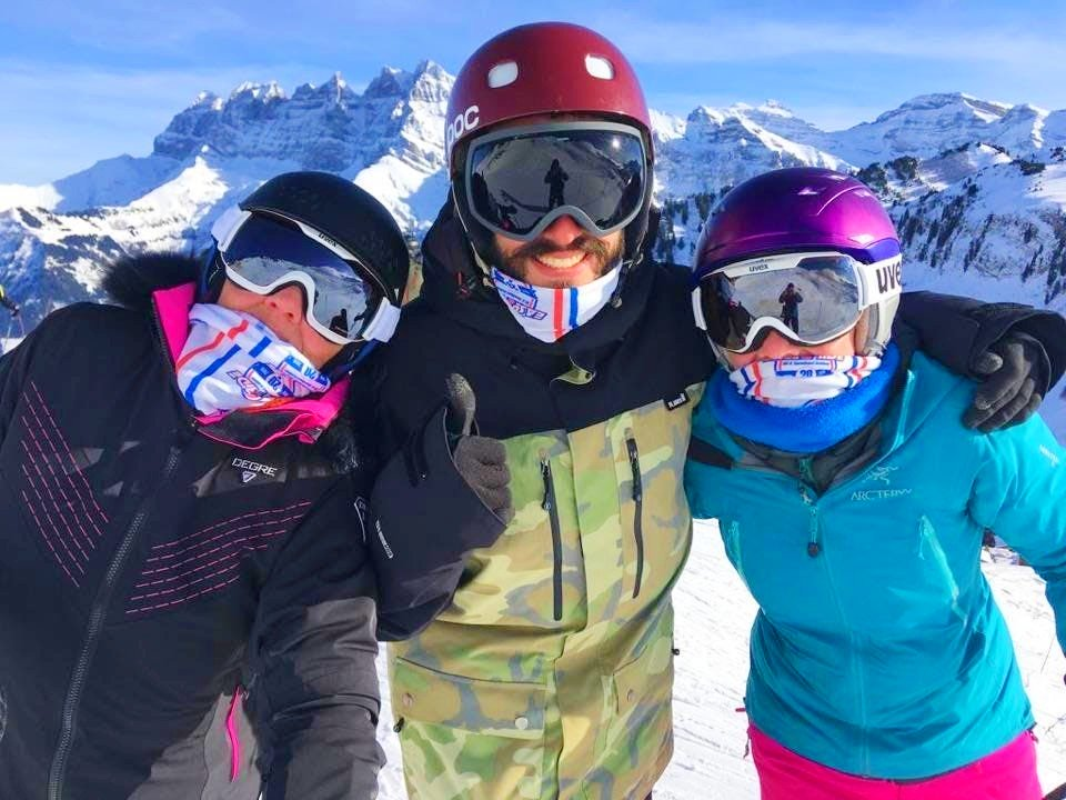 Three teenagers are ready to learn to ski in Morzine.