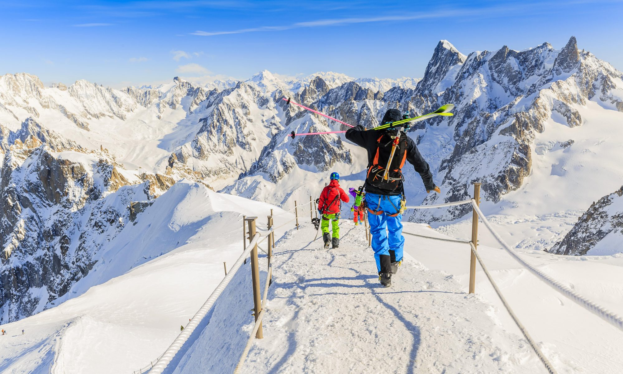 Two skiers are about to start a day of skiing in Chamonix.