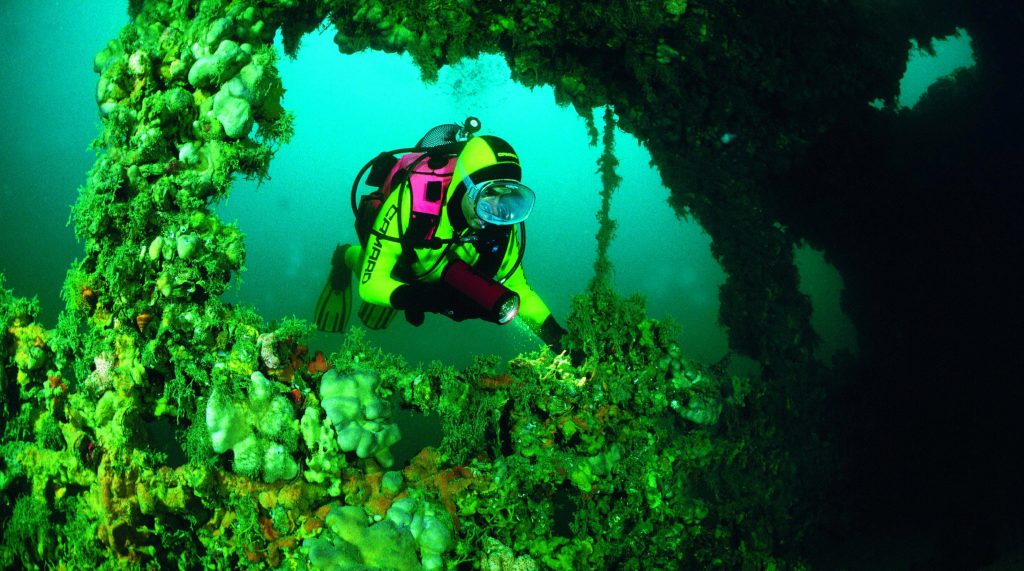 Ein Taucher erkundet ein Schiffswrack in Istrien. Das Wrack in der Adria ist heute Lebensraum für zahlreiche Meerestiere.