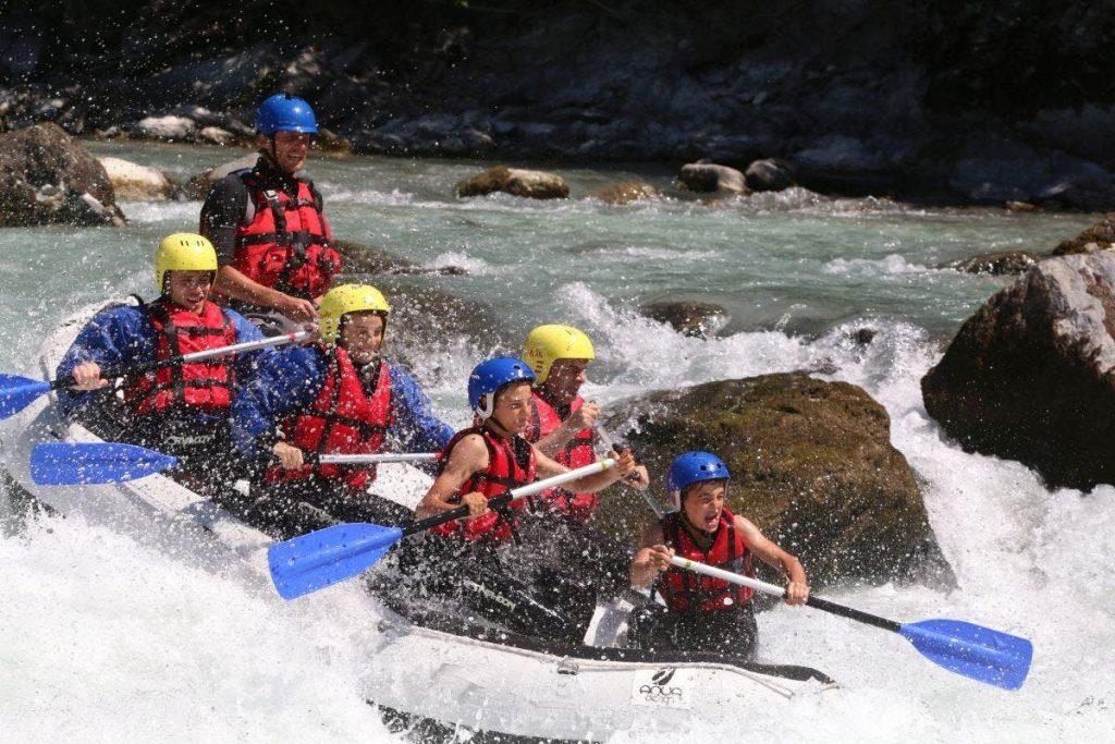 A raft going through rapids.