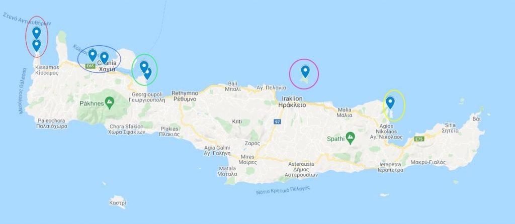 Una mappa di Creta con segnati i luoghi dove fare snorkeling.
